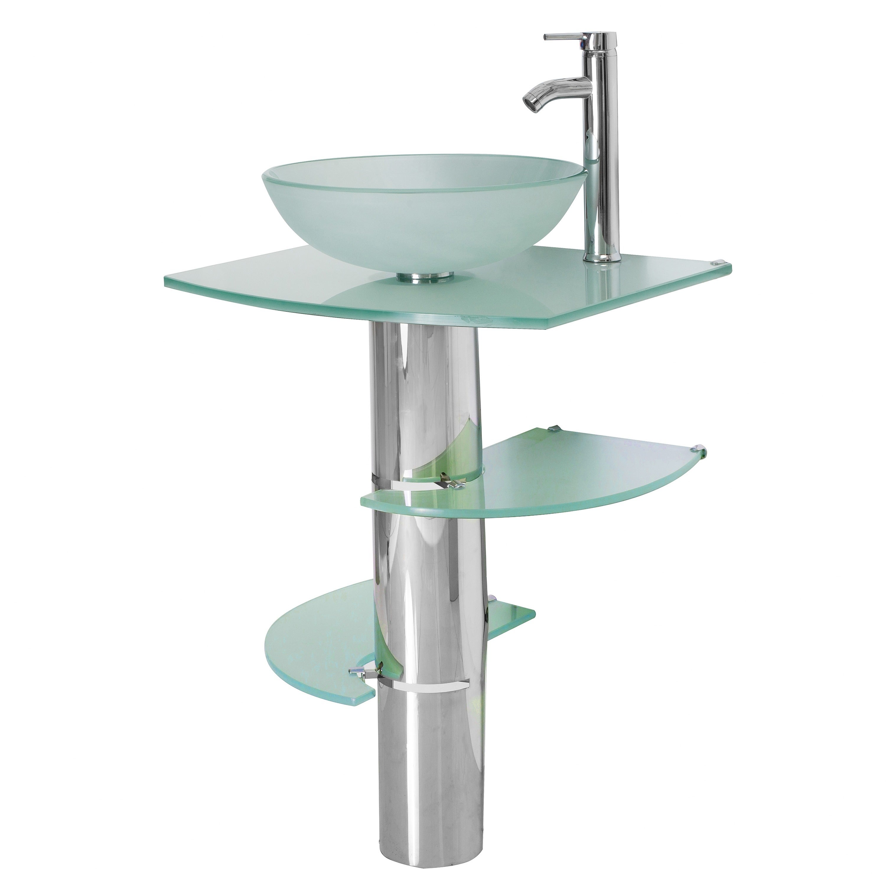Shop Kokols Bathroom Vanity Pedestal and Frosted Glass Vessel Sink ...
