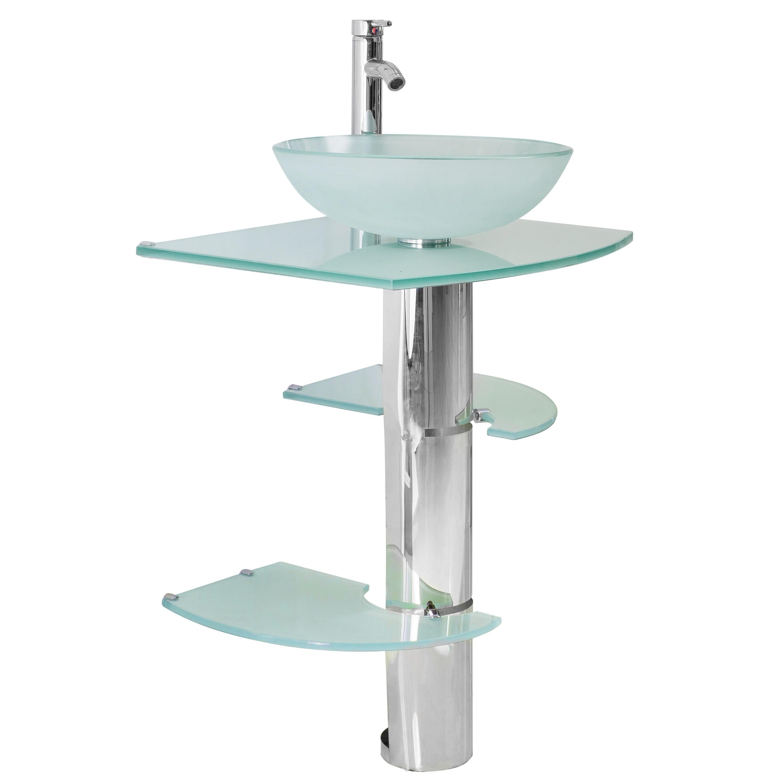 Shop Kokols Bathroom Vanity Pedestal And Frosted Glass Vessel Sink