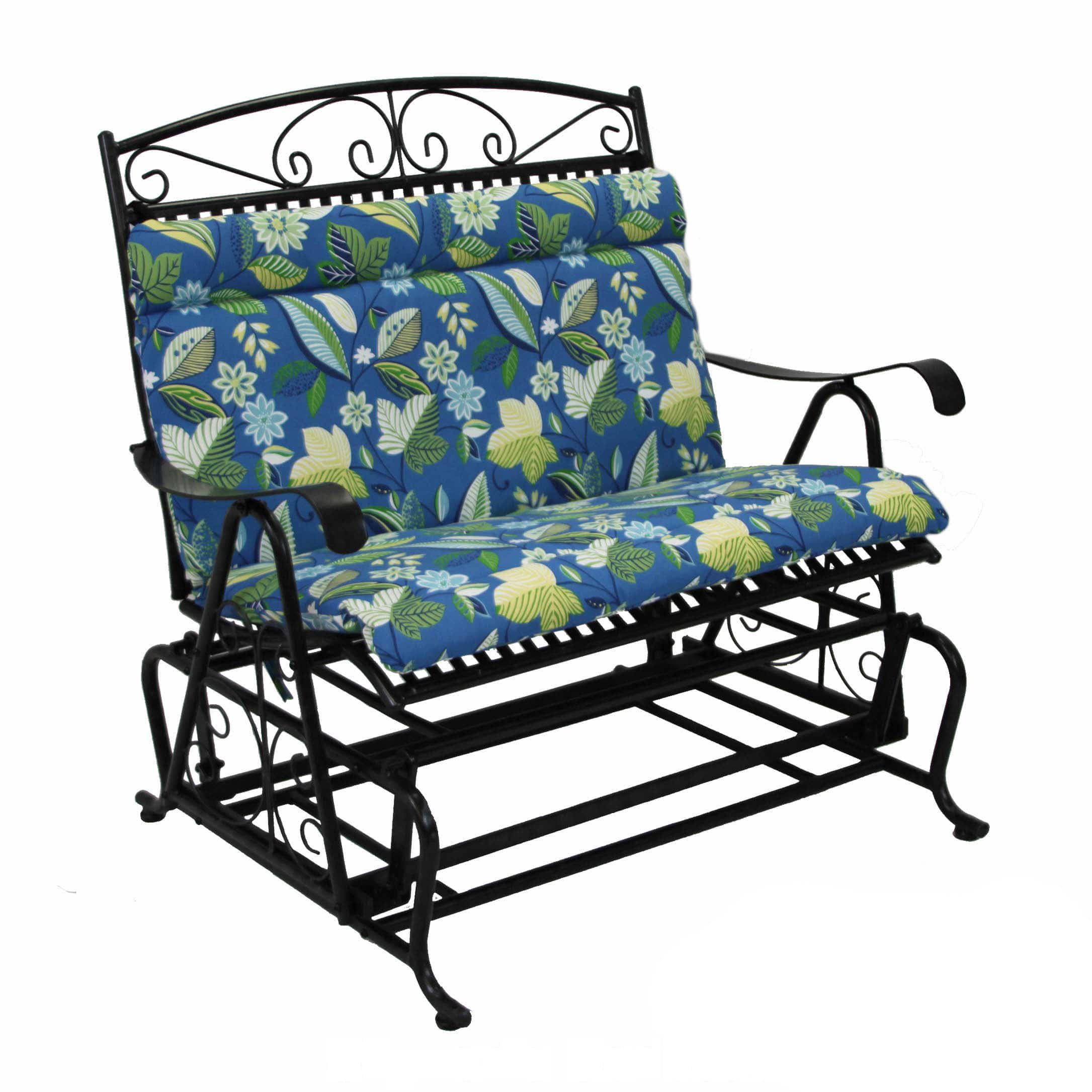 All Weather Blue Floral Outdoor Double Glider Chair Cushion Free