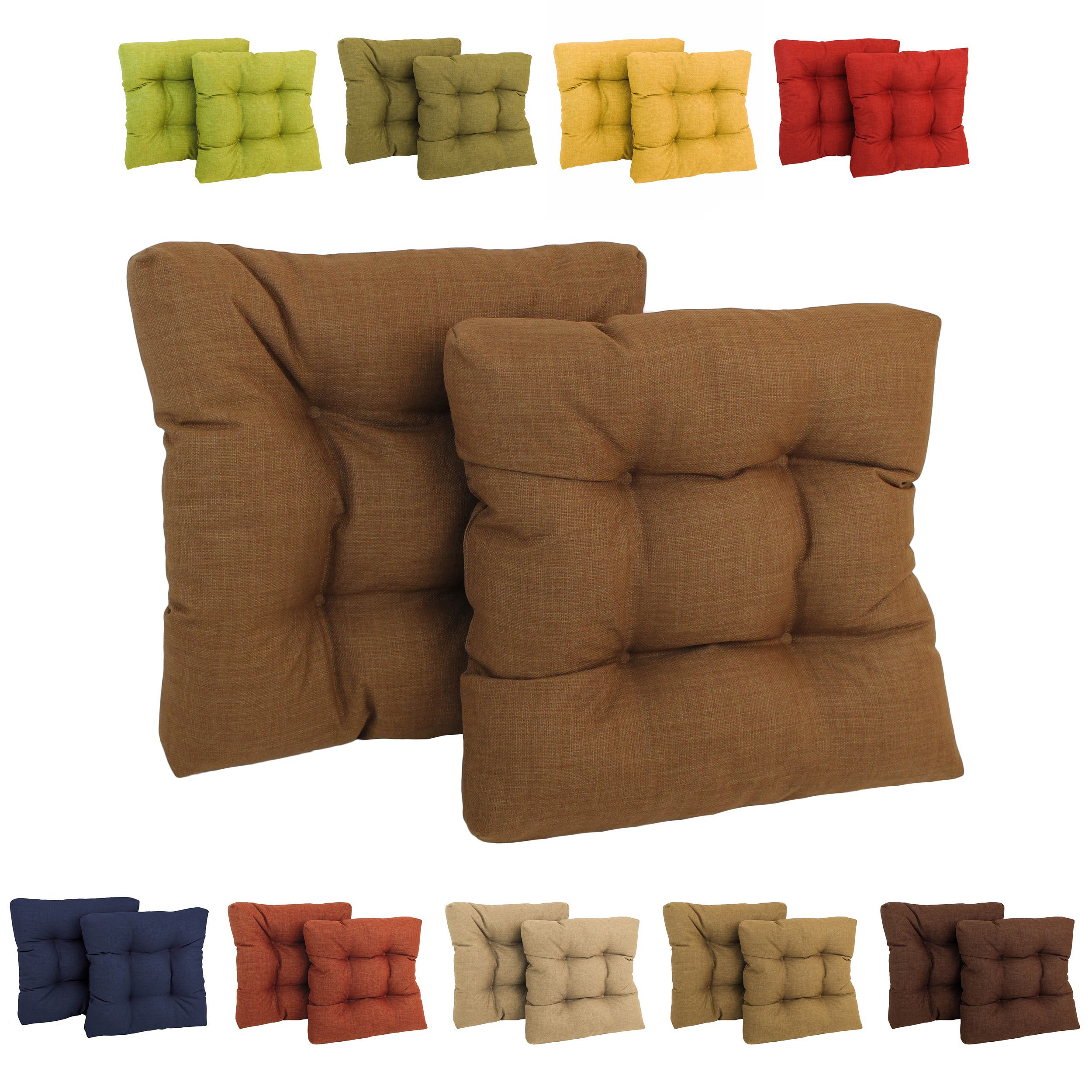 All Weather Solid Colored Square Outdoor Chair Cushions (Set Of Two)   Free  Shipping Today   Overstock   13475063