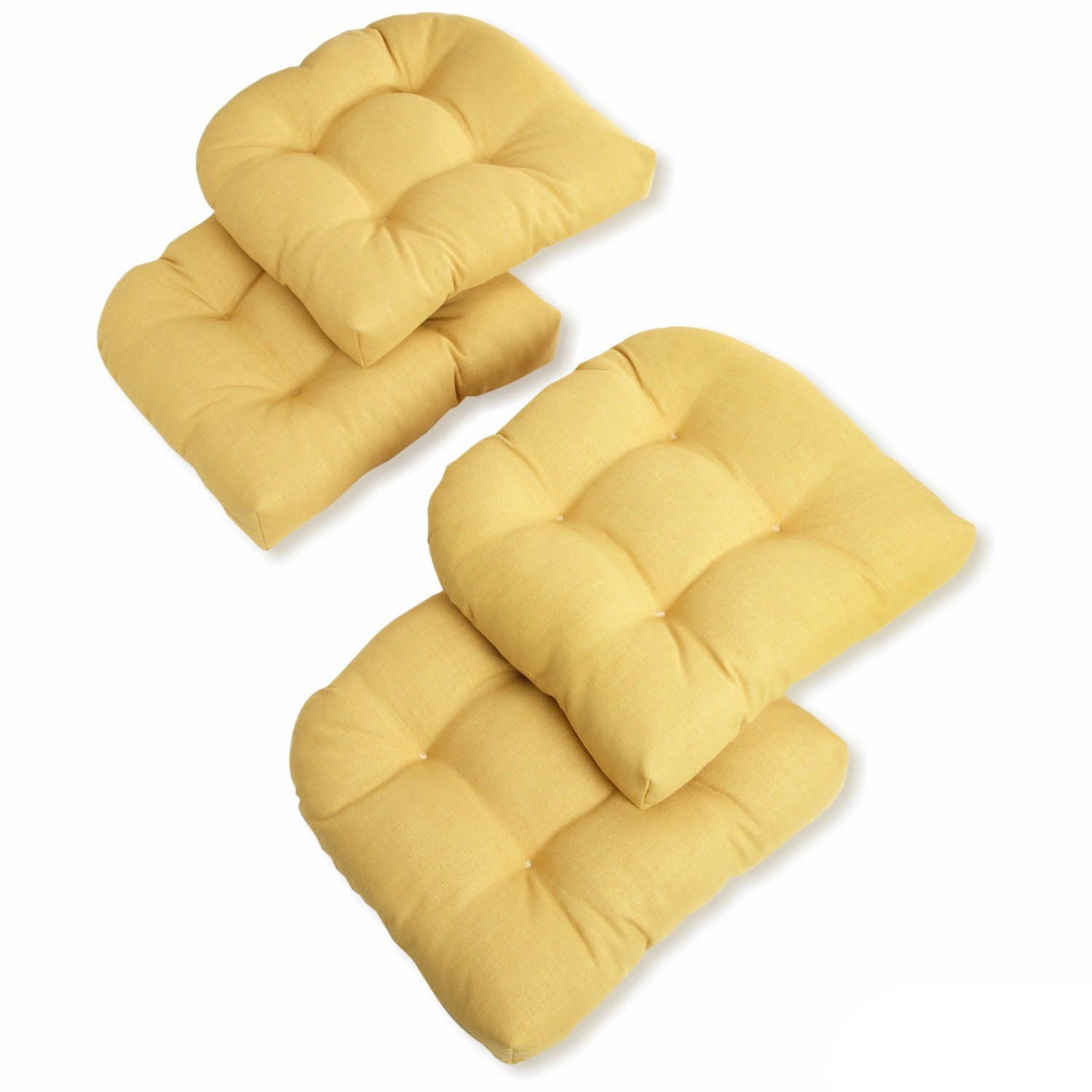 Blazing Needles 19 Inch All Weather U Shaped Outdoor Chair Cushion Set Of 4