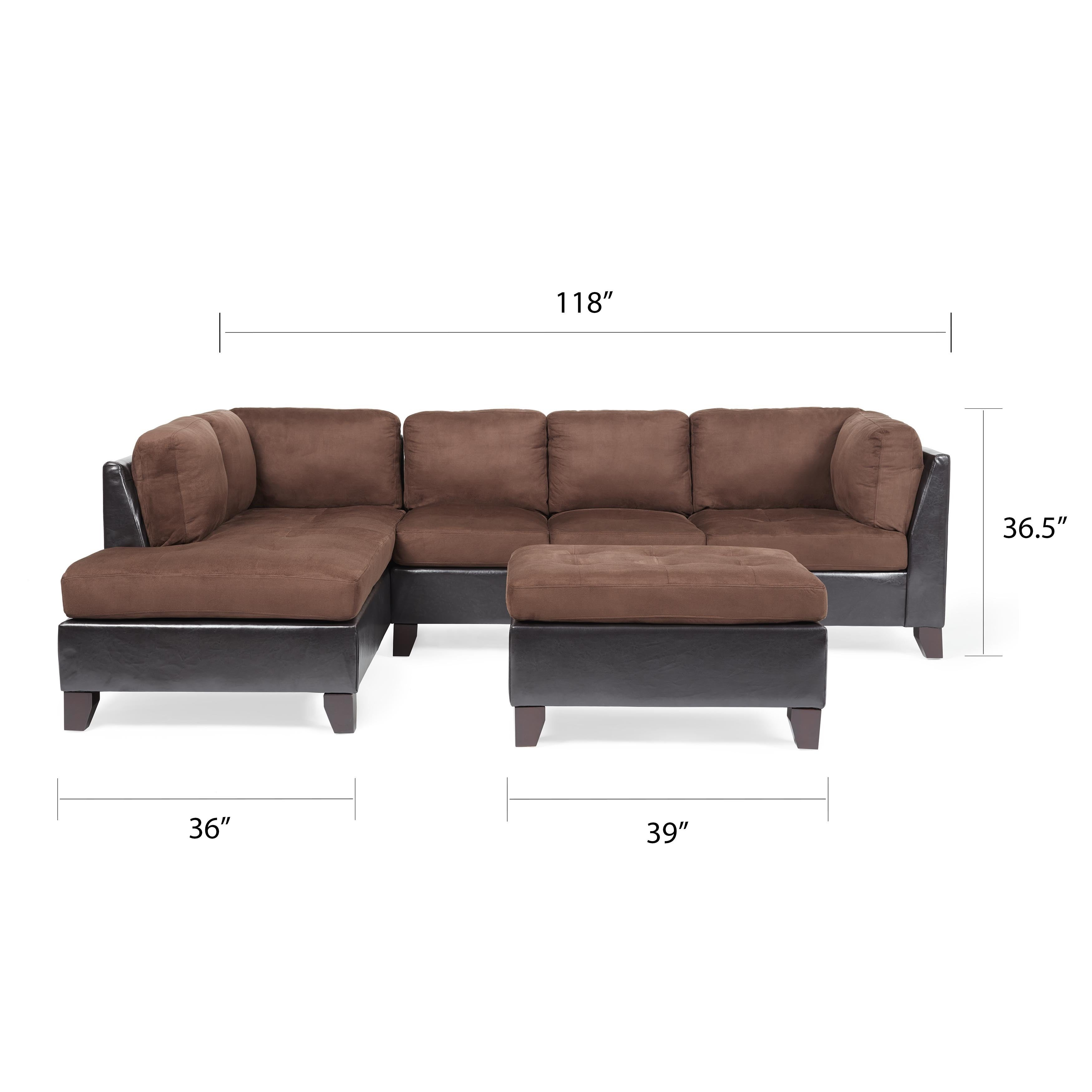 Shop Abbyson Charlotte Dark Brown Sectional Sofa And Ottoman Free