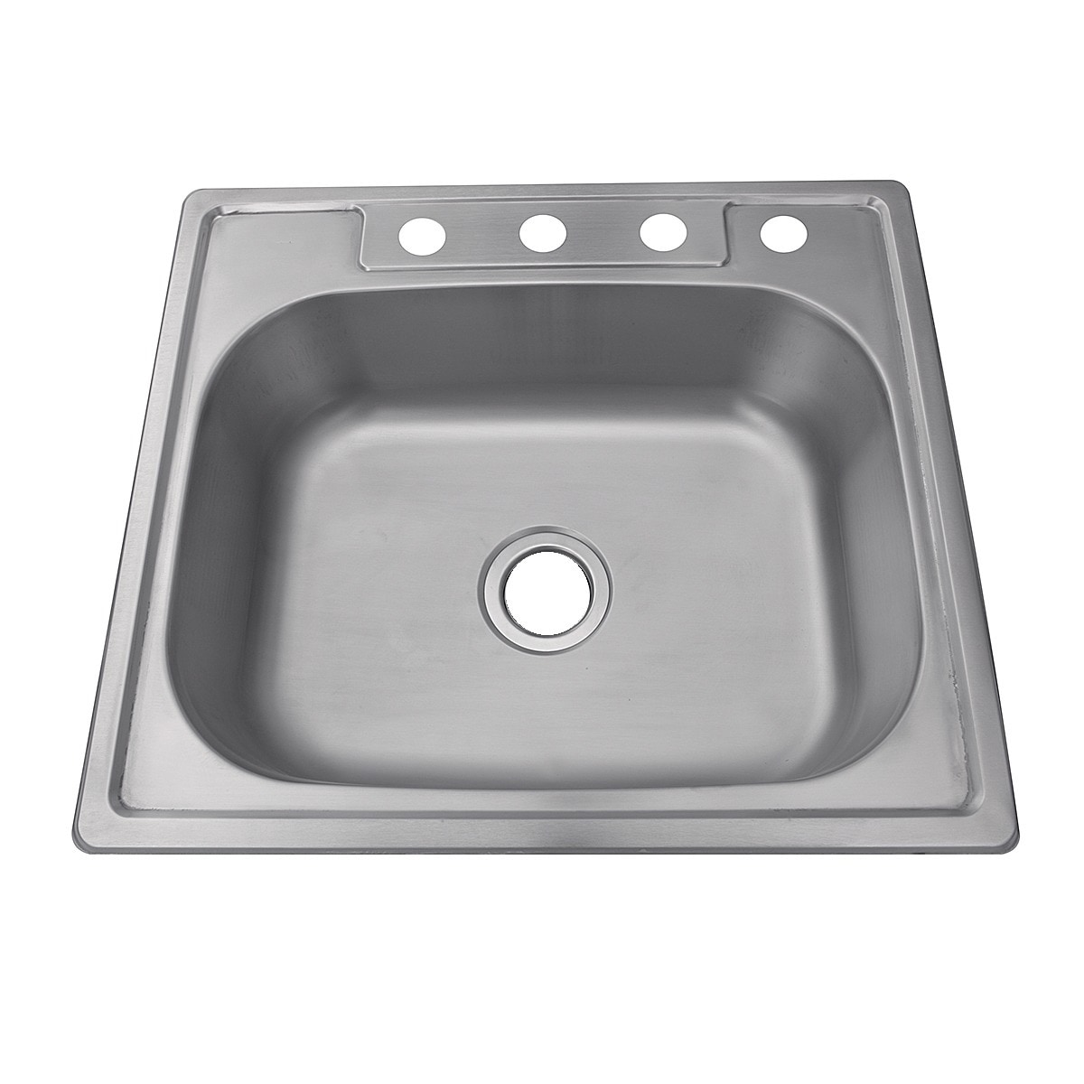 Stainless Steel 25 Inch Self 4 Hole Single Bowl Kitchen Sink Free Shipping Today 5763614