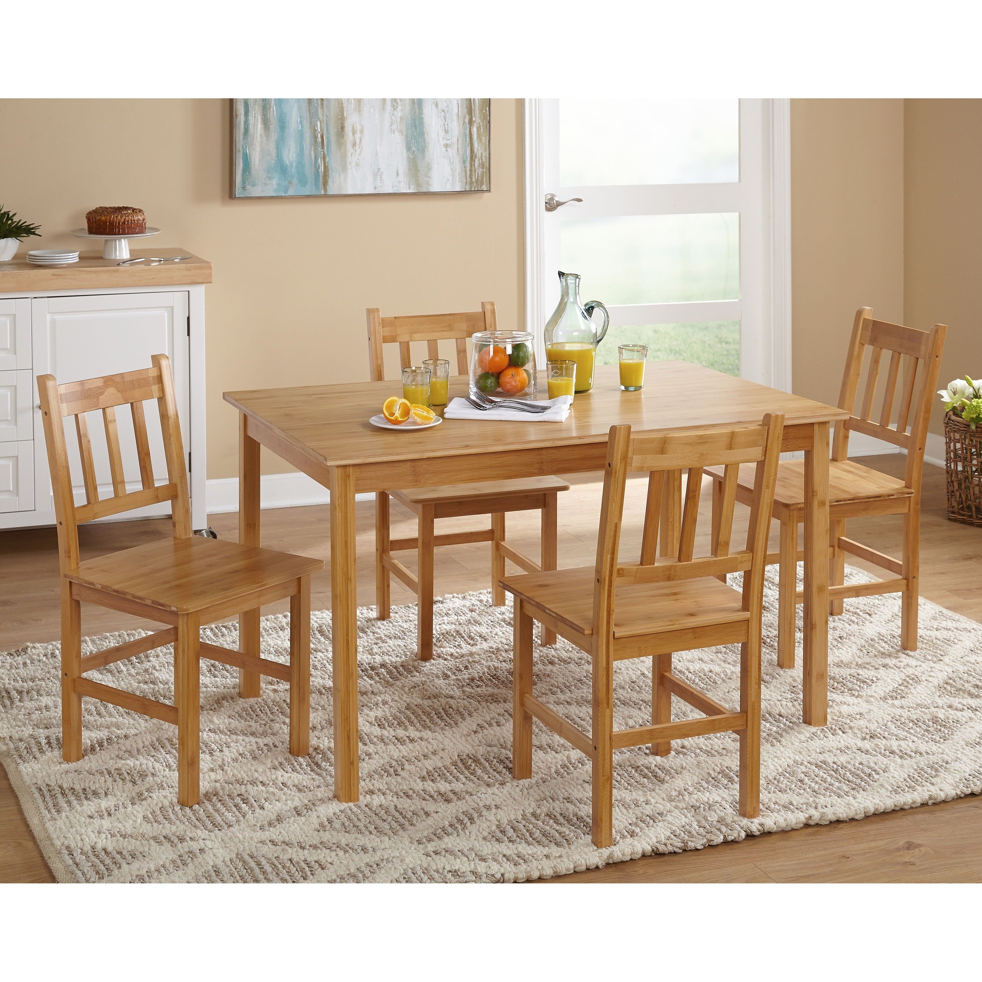 Bamboo Kitchen Table Simple living bamboo 5 piece dining set free shipping today simple living bamboo 5 piece dining set free shipping today overstock 13494705 workwithnaturefo
