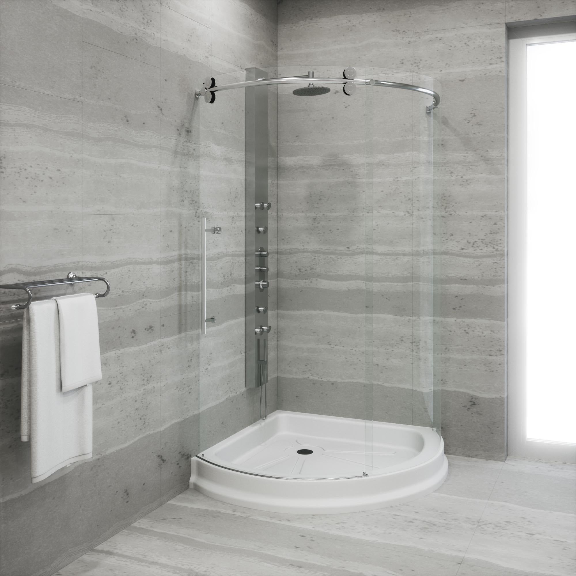 Shop VIGO 42-inch Clear Glass Frameless Shower Door with Brushed ...