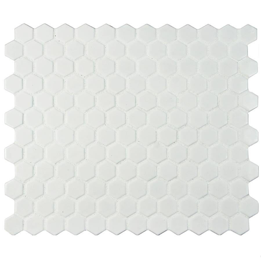 SomerTile 10 25x11 75-inch Victorian Hex Matte White Porcelain Mosaic Floor  and Wall Tile (10 tiles/8 56 sqft )