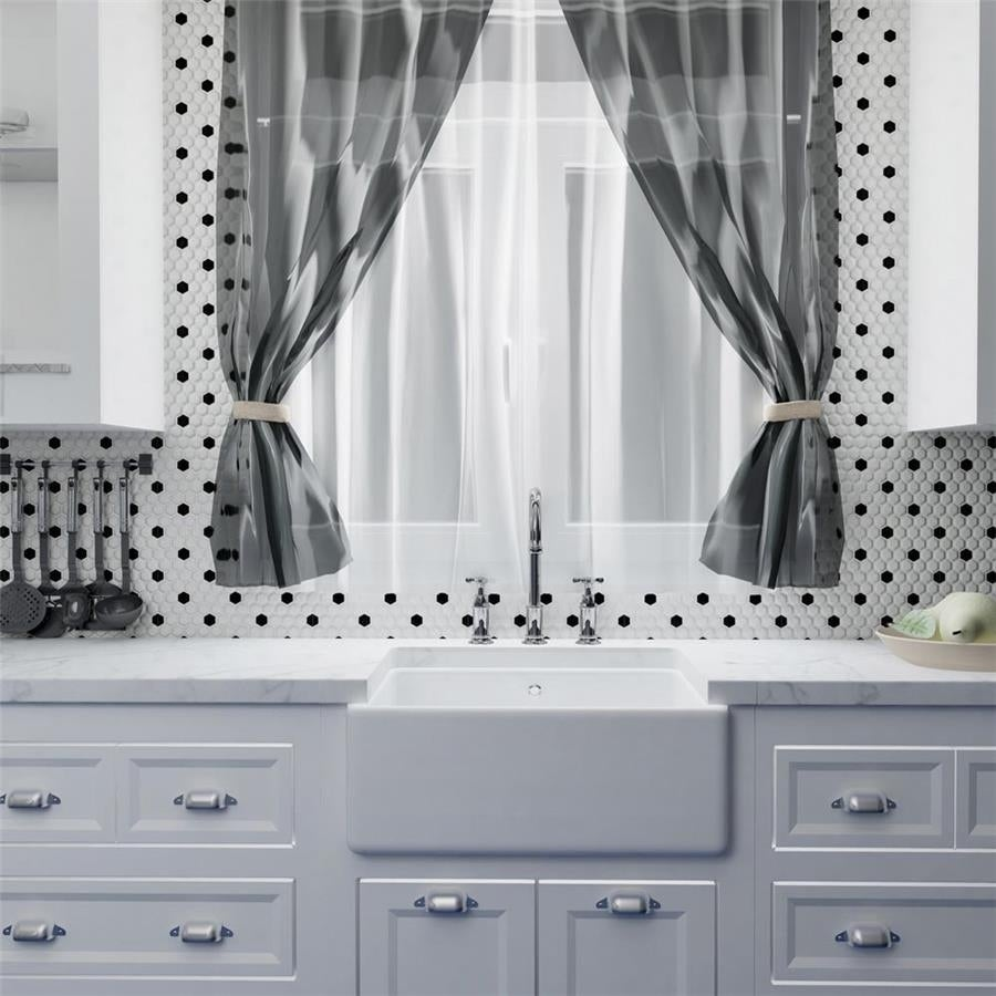 Shop SomerTile 10.25x11.75-inch Victorian Hex White with Black Dot ...