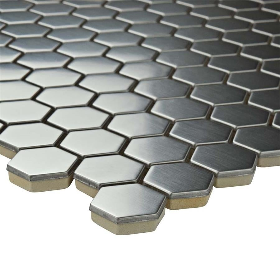 Shop Somertile 1125x1125 Inch Chromium Hex Stainless Steel Over