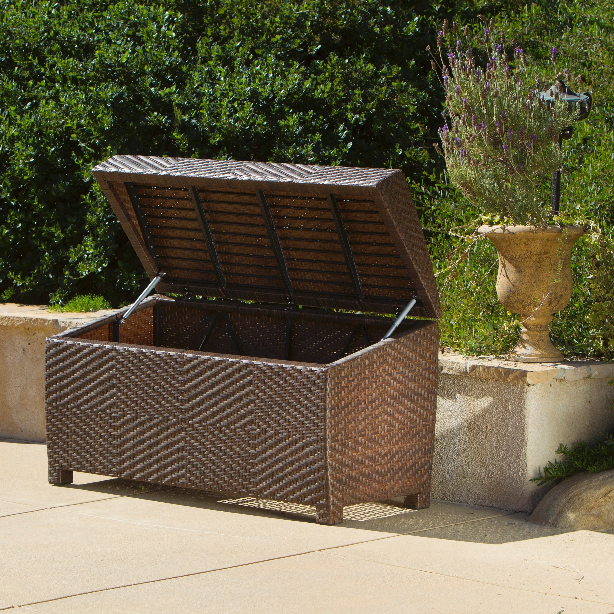 Good Shop Outdoor Wicker Storage Chest By Christopher Knight Home   Free  Shipping Today   Overstock.com   5788550