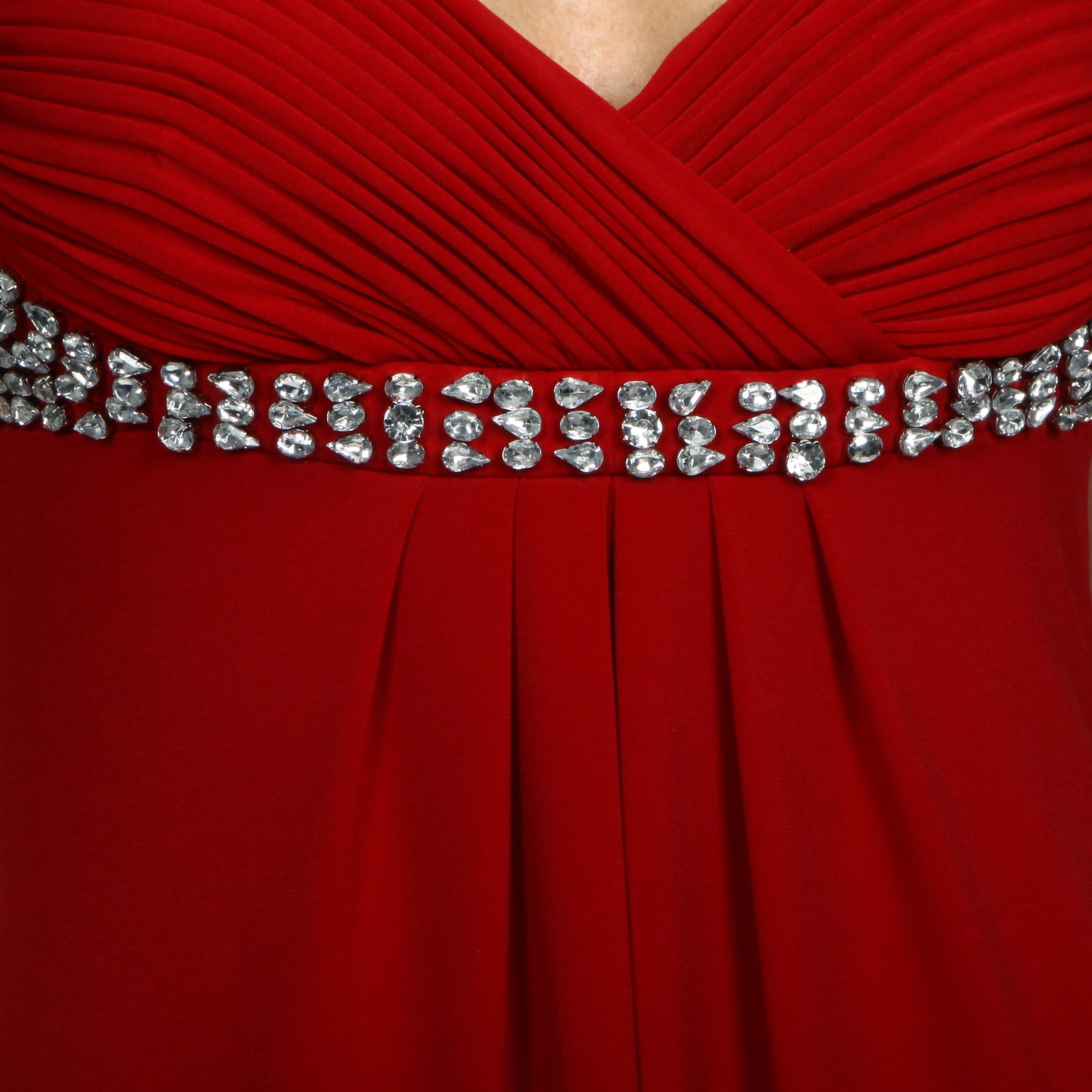 Shop JS Boutique Women\'s Beaded Ruched Long Evening Dress - Free ...