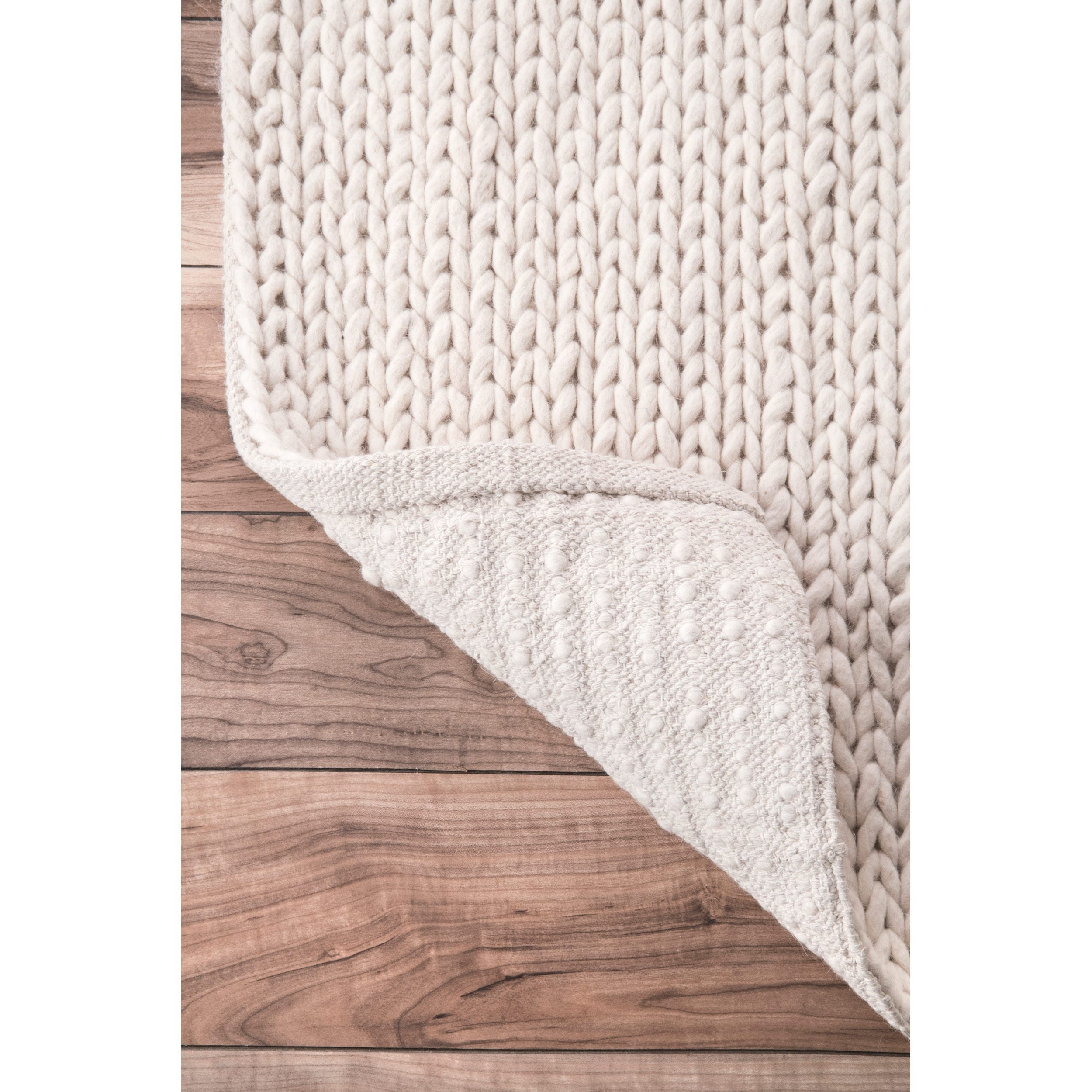Shop NuLOOM Handmade Braided Cable White New Zealand Wool Rug   9u0027 X 12u0027    On Sale   Free Shipping Today   Overstock.com   5804608