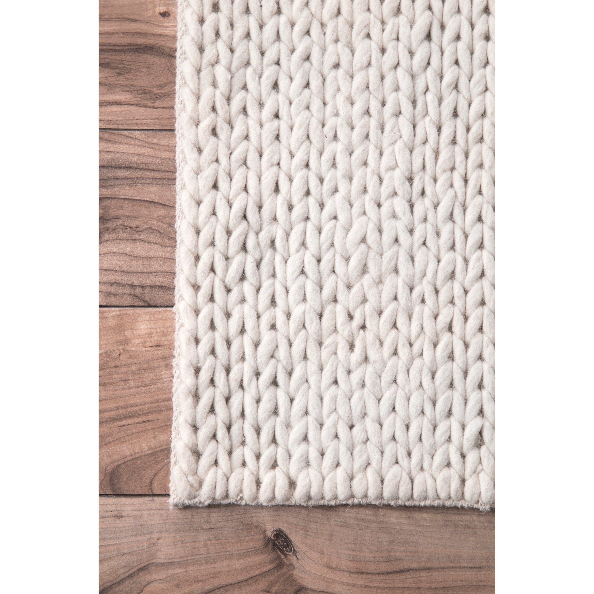 Nuloom Handmade Braided Cable White New Zealand Wool Rug 8 X 10 Free Shipping Today 13524401