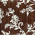 Alliyah Handmade New Zeeland Blend Brown Floral Rug (6' Square)