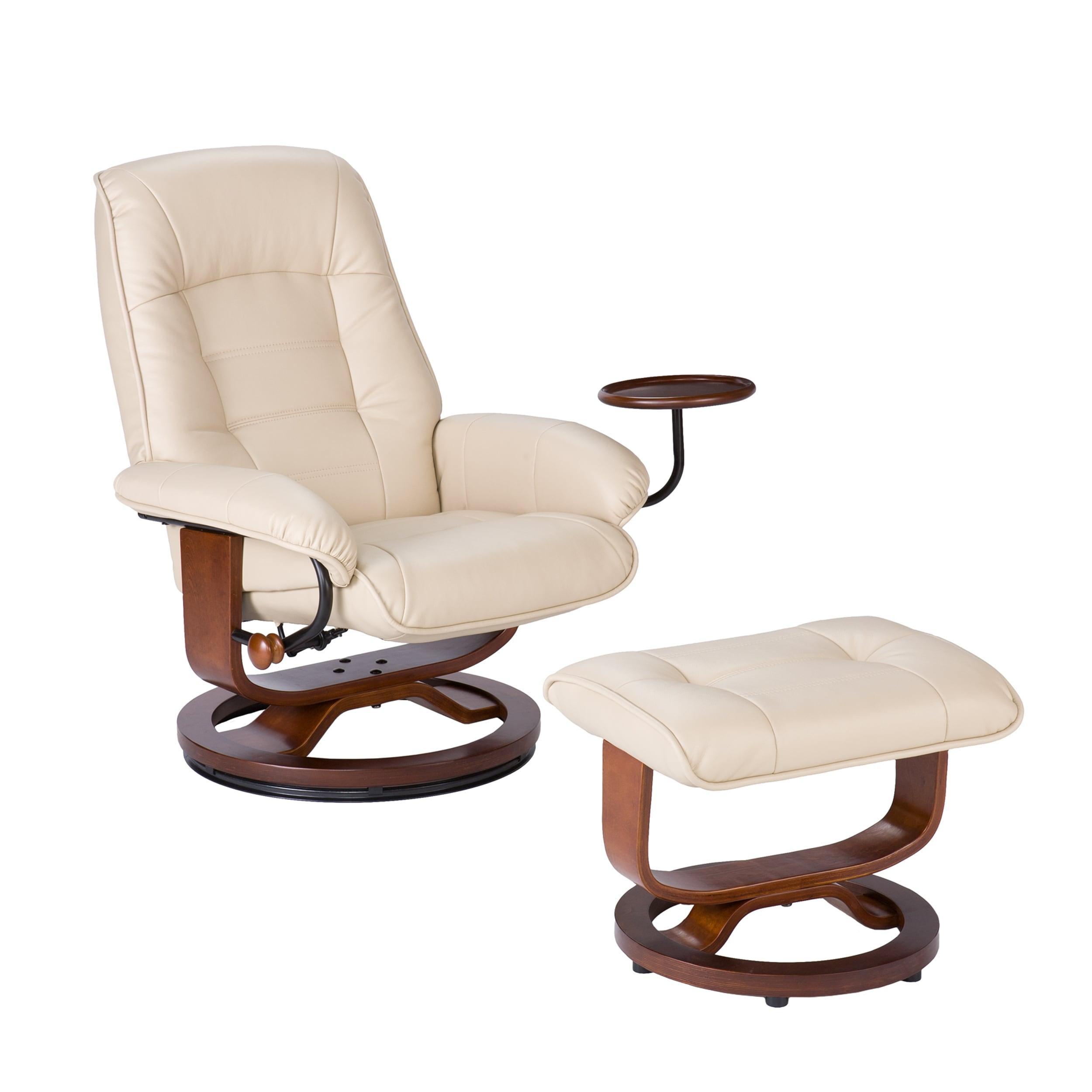 shop harper blvd windsor taupe leather recliner and ottoman set