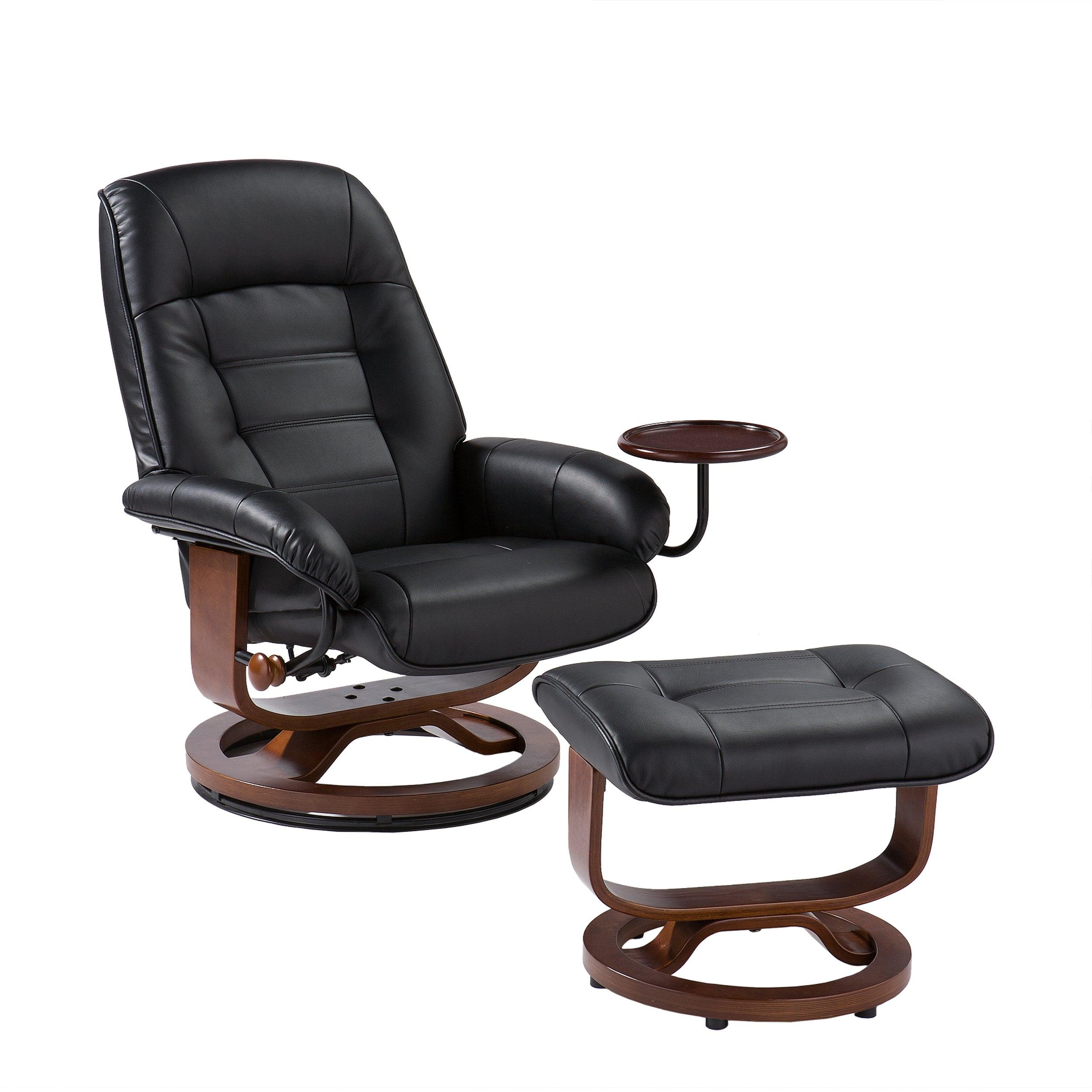 shop harper blvd windsor black leather recliner and ottoman set
