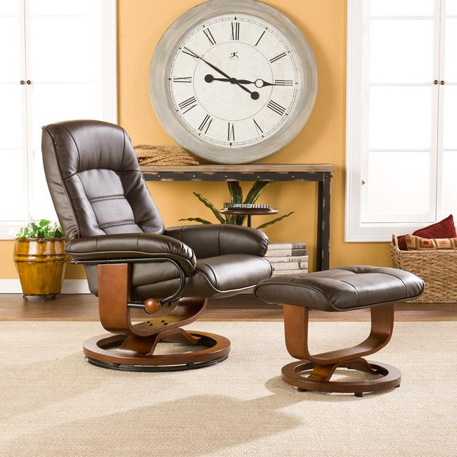 Shop Harper Blvd Windsor Brown Leather Recliner And Ottoman Set   Free  Shipping Today   Overstock.com   5828564