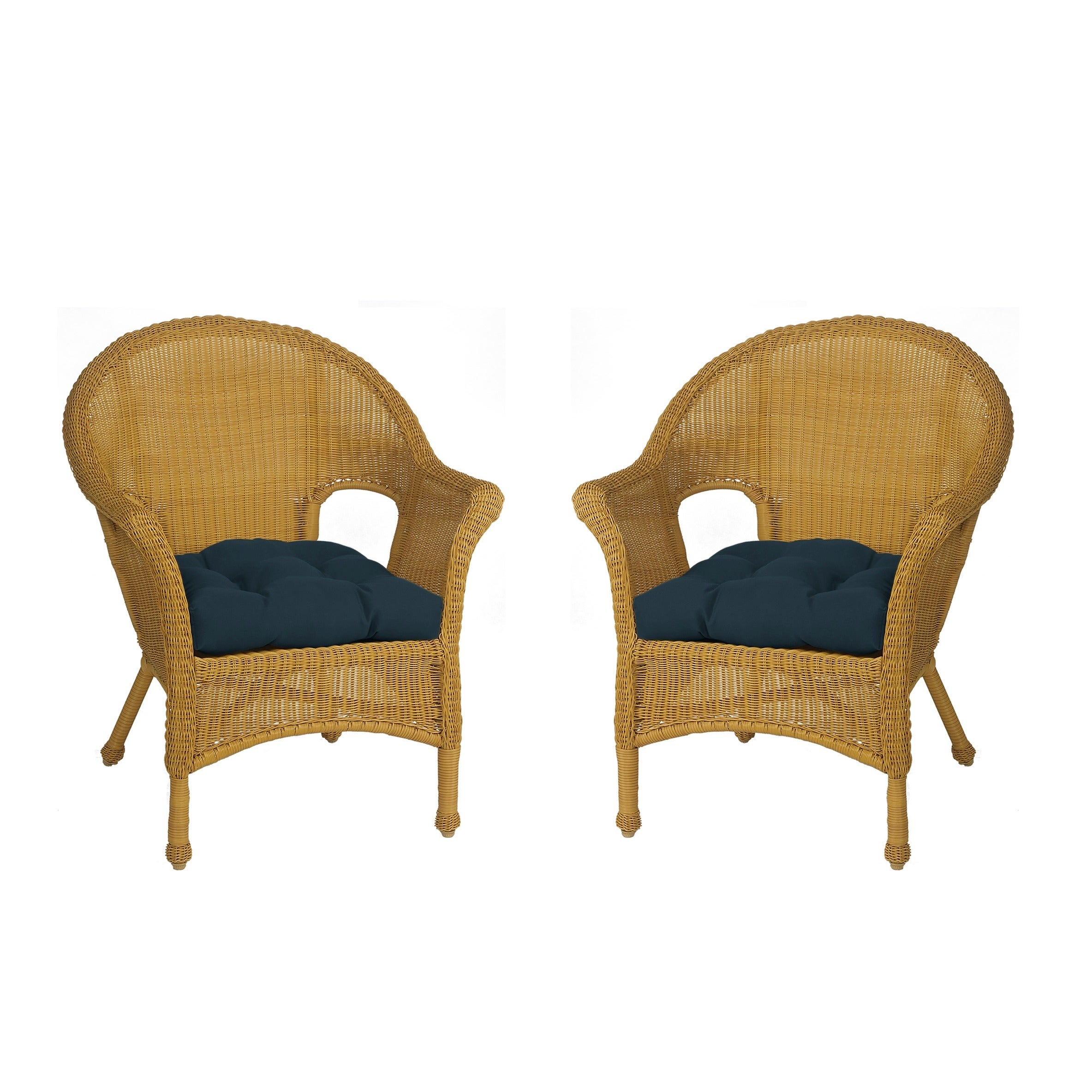 Royal All Weather Outdoor Navy Blue Wicker Chair Cushion Set Of 2 Free Shipping On Orders Over 45 5835111
