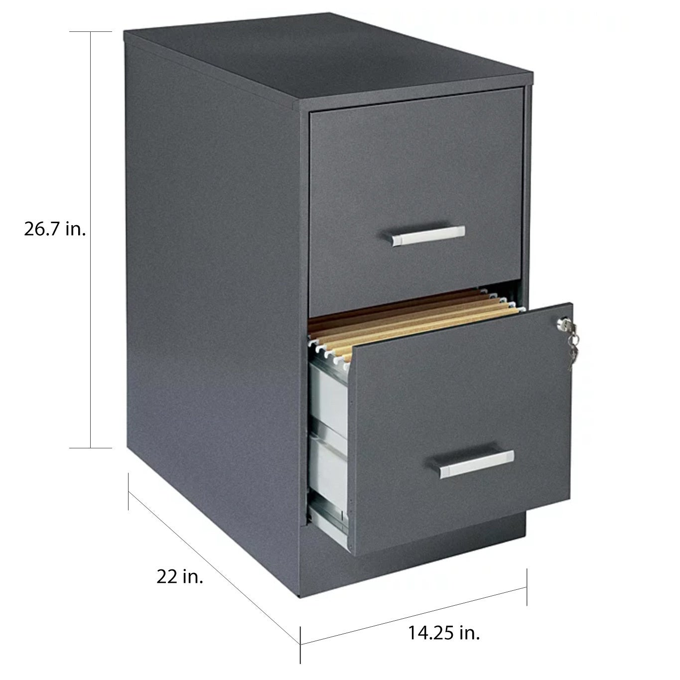 Space Solutions 22 Deep 2 Drawer Metal File Cabinet Metallic Charcoal