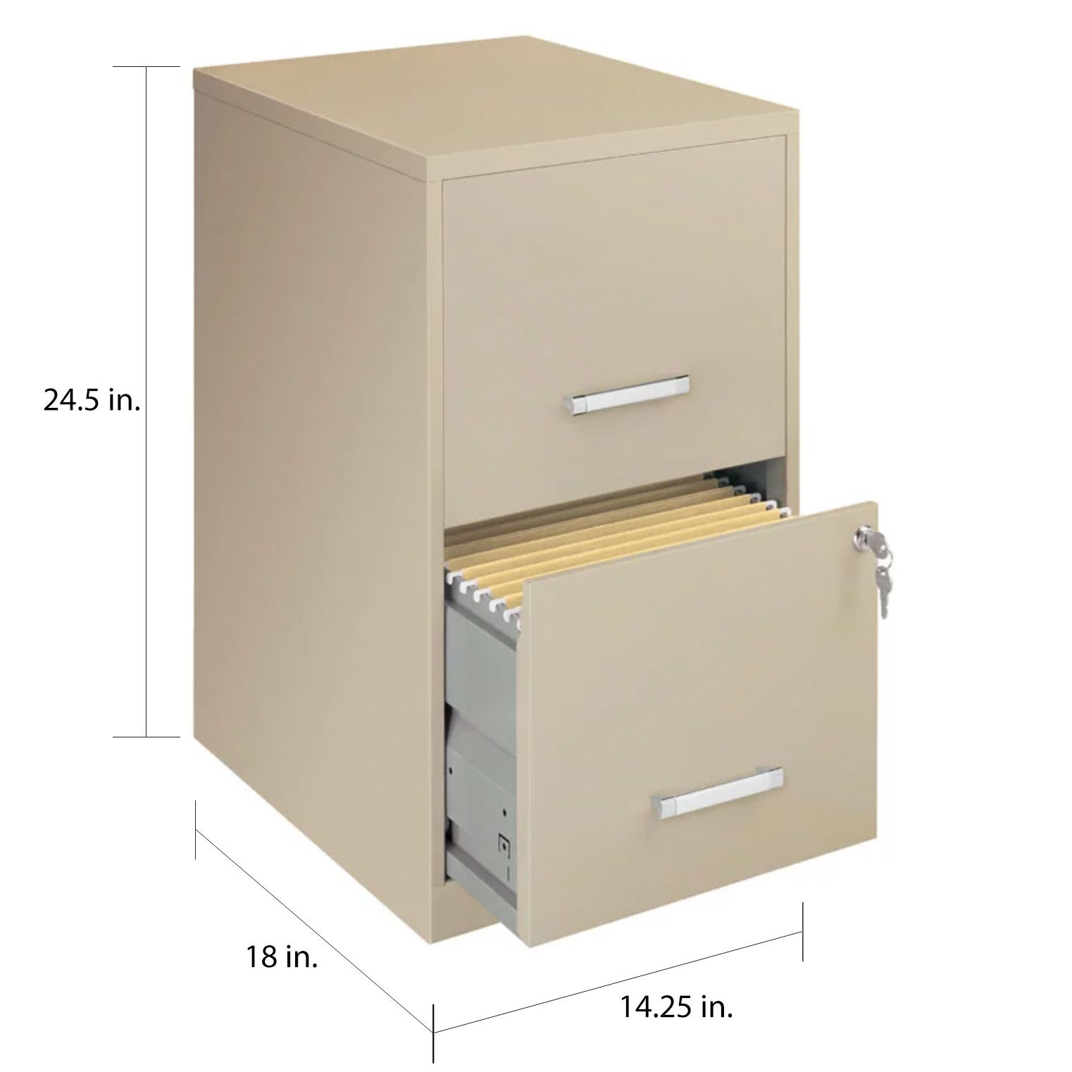 E Solutions 18 Deep 2 Drawer Metal File Cabinet Putty Free Shipping Today 5853278
