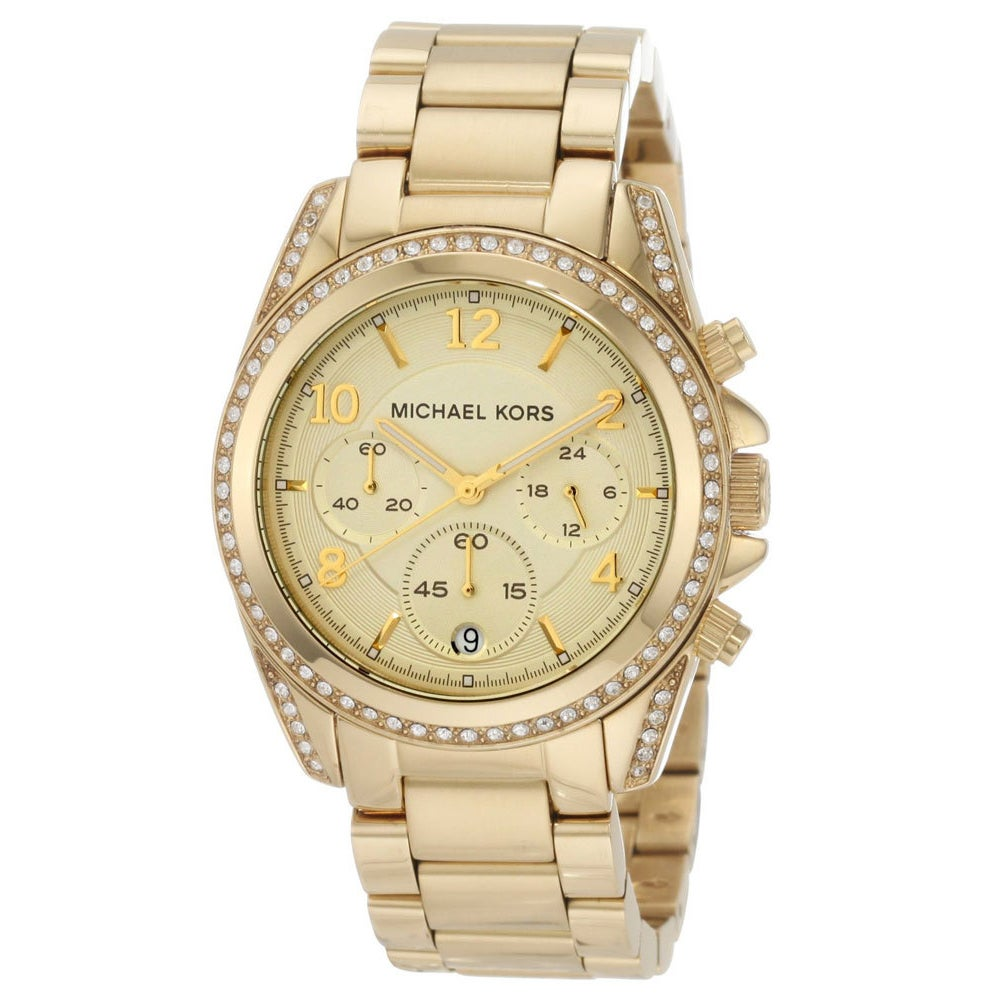 6085beff5fbd Shop Michael Kors Women s MK5166 Blair Goldtone Stainless Steel Chronograph  Watch - Gold - Free Shipping Today - Overstock - 5854951