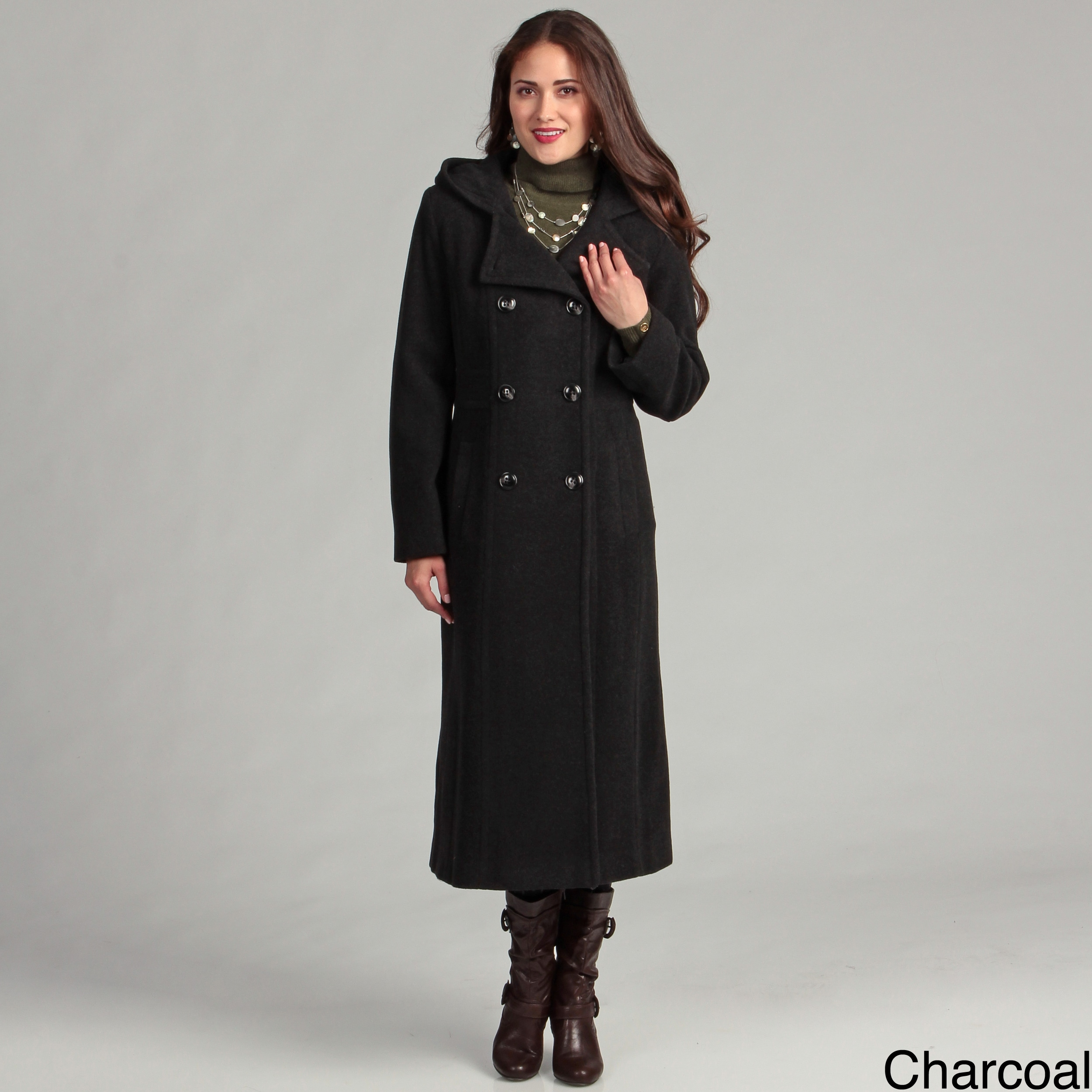 4578d44742 Shop AK Anne Klein Women's Long Double-Breasted Wool Hooded Coat ...
