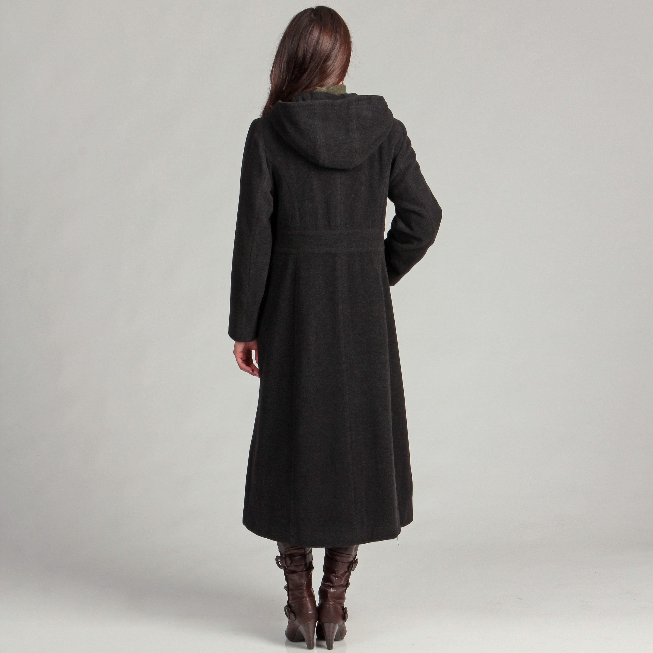 a7456c22eb08d9 Shop AK Anne Klein Women's Long Double-Breasted Wool Hooded Coat - Free  Shipping Today - Overstock - 5858844