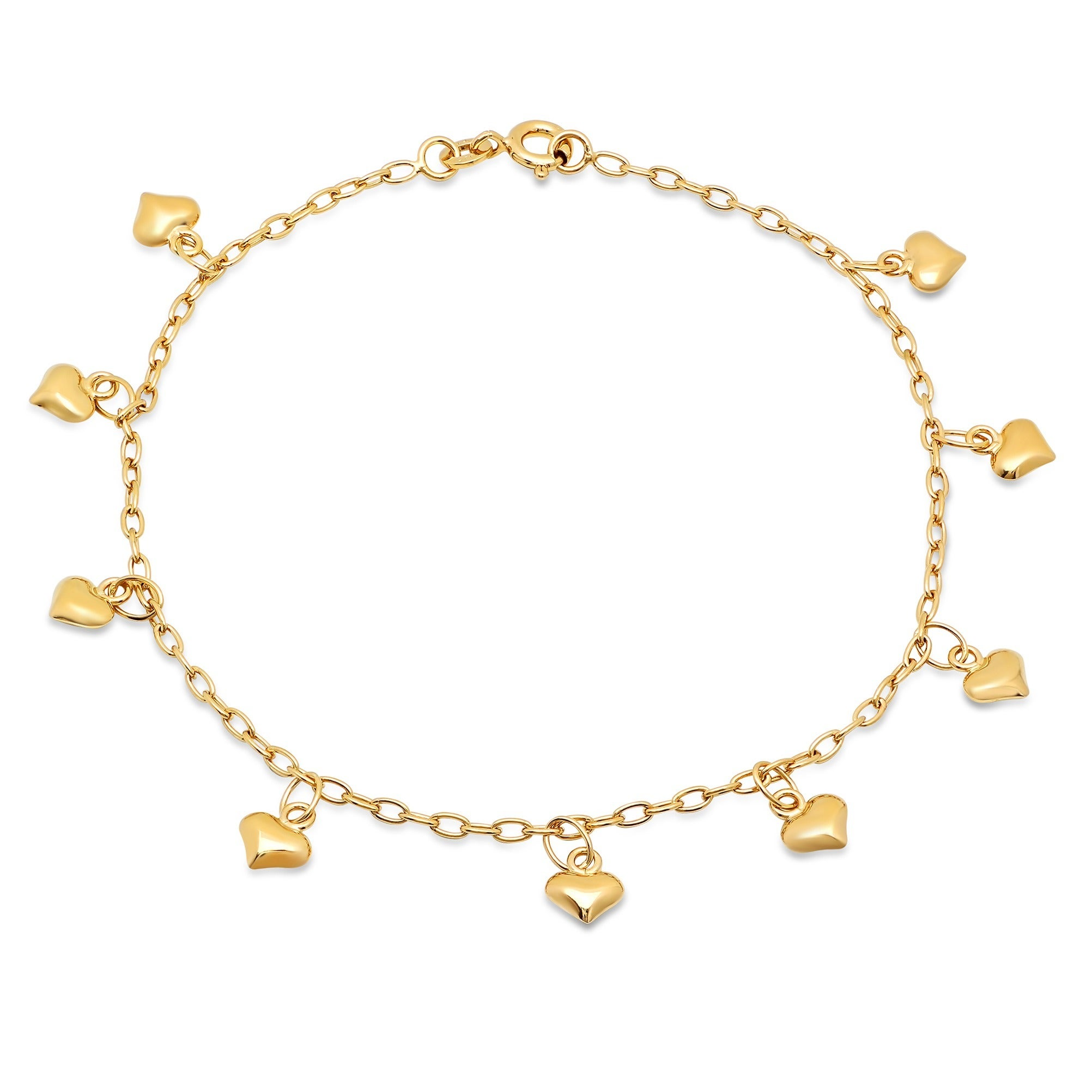 solid anklet yellow gold p figaro rose
