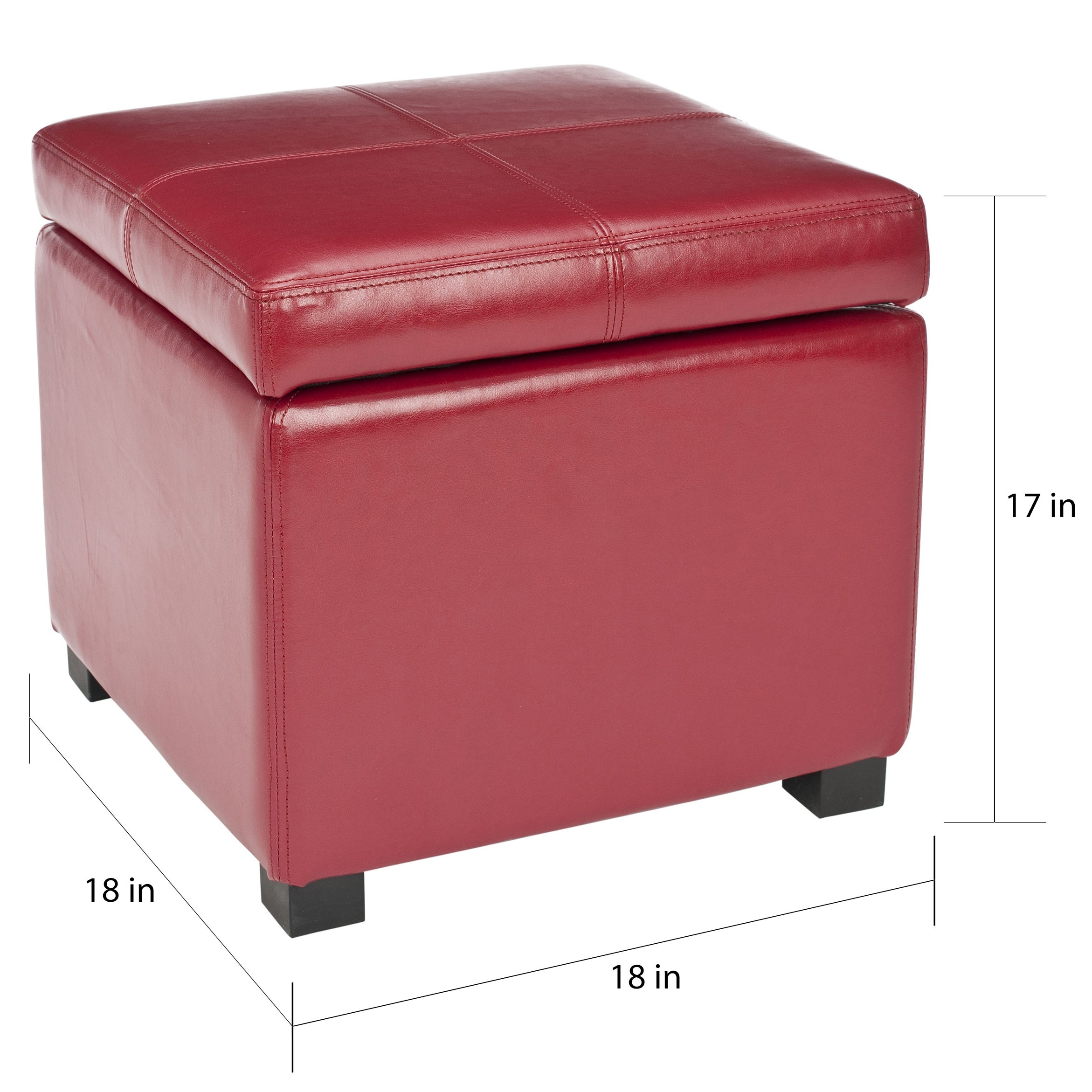 Beau Shop Safavieh Broadway Red Leather Storage Ottoman   On Sale   Free  Shipping Today   Overstock   5880662