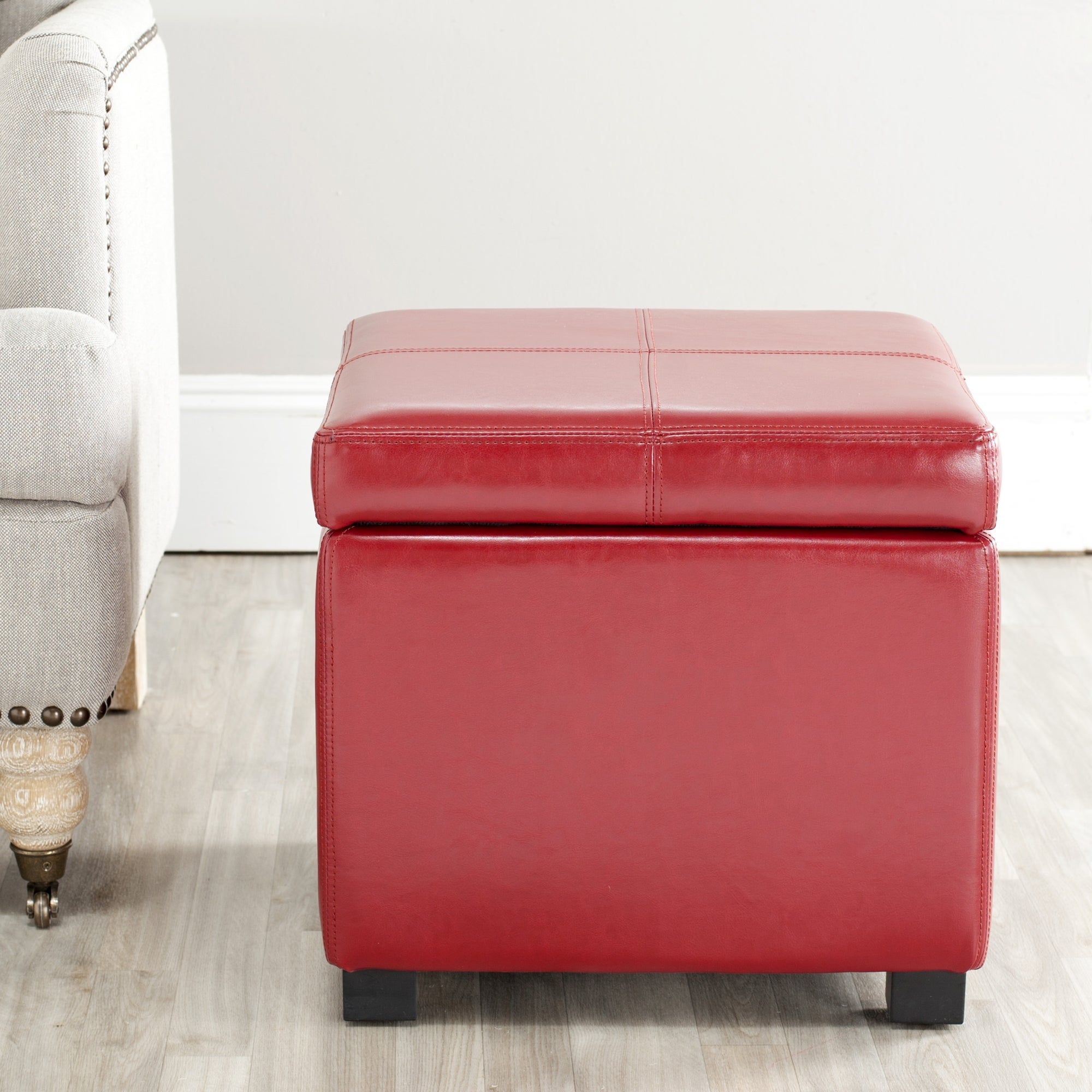 Shop Safavieh Broadway Red Leather Storage Ottoman - Free Shipping Today - Overstock.com - 5880662 & Shop Safavieh Broadway Red Leather Storage Ottoman - Free Shipping ...