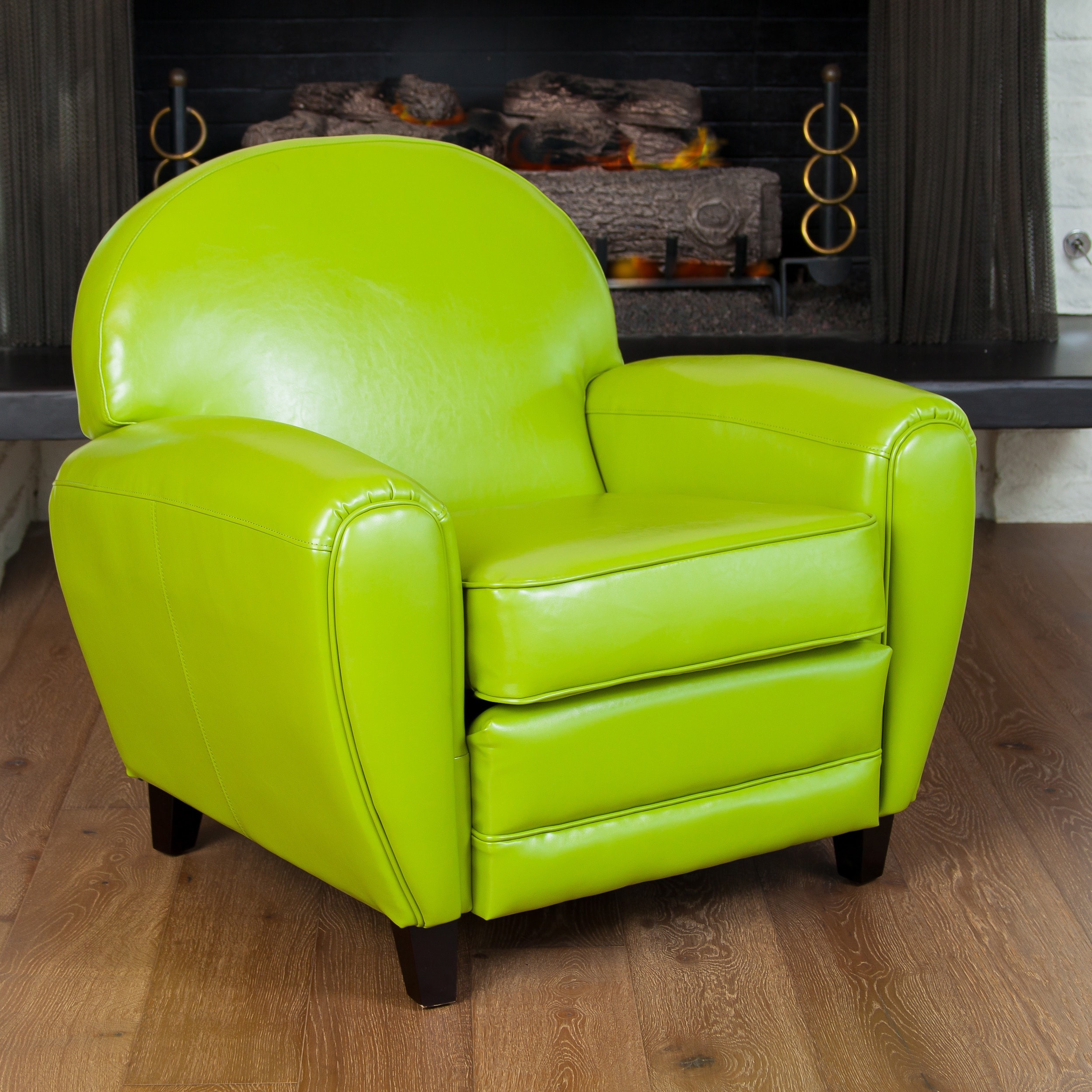 david lime green leather club chair by christopher knight home