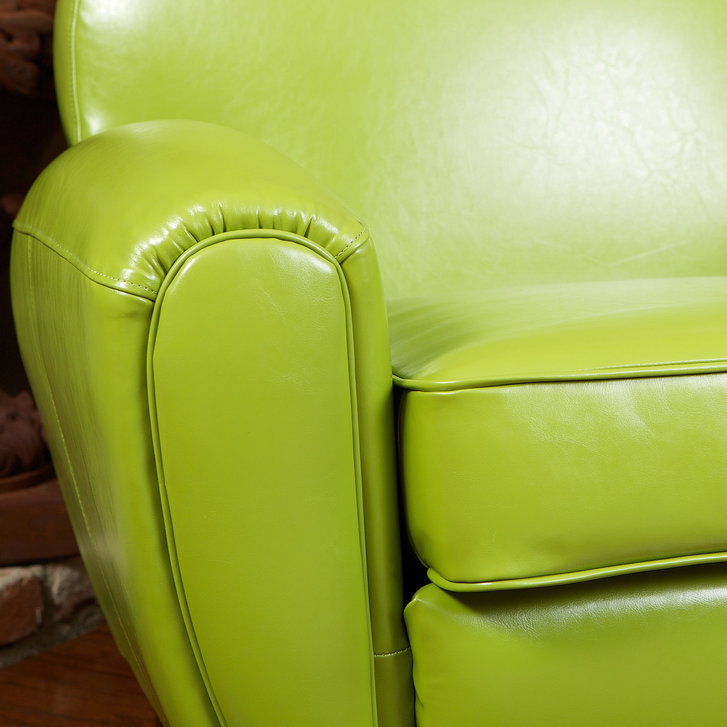 Shop David Lime Green Leather Club Chair By Christopher Knight Home   Free  Shipping Today   Overstock.com   5891350