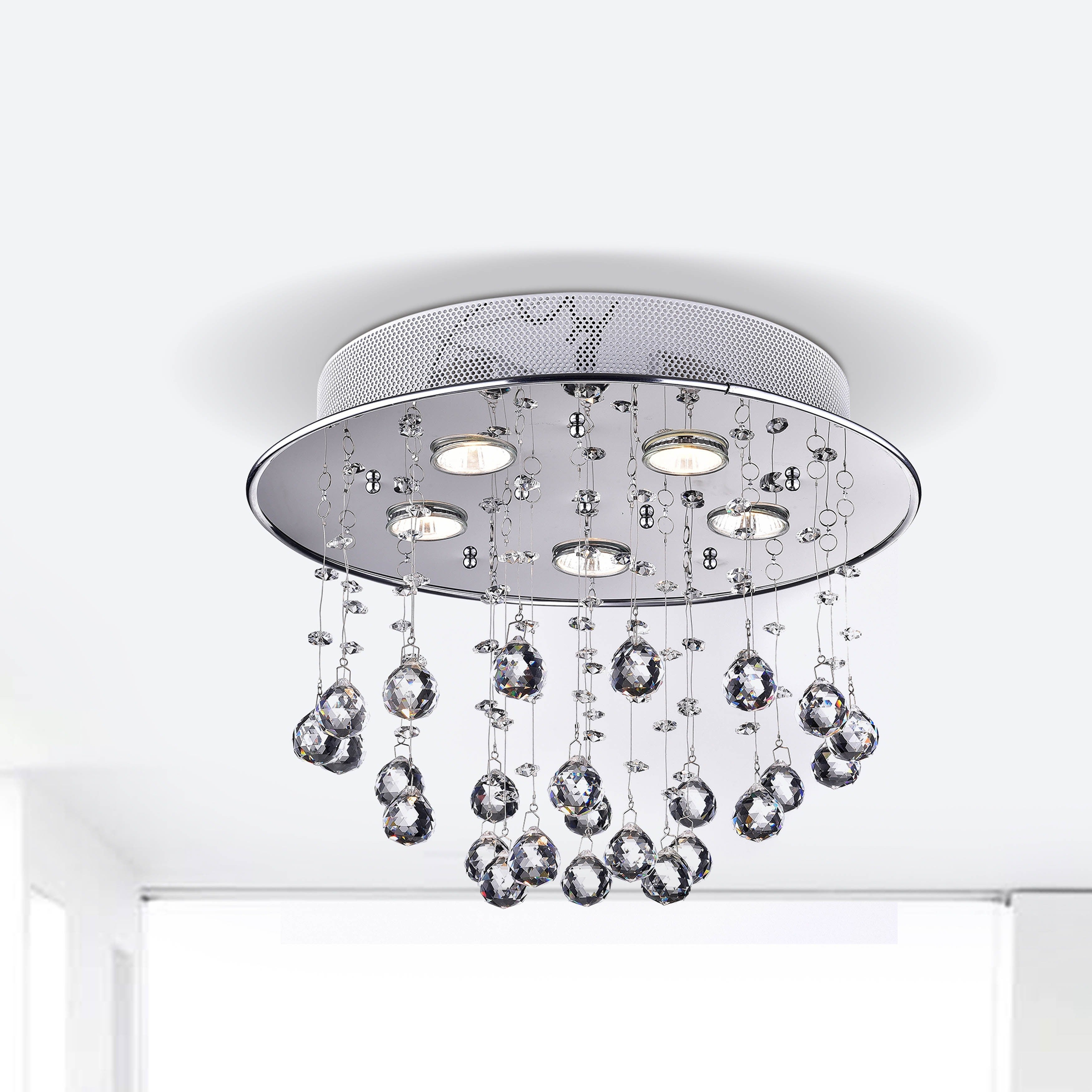 Floating Bubble Chrome And White 5 Light Crystal Chandelier Free Shipping Today 5900418