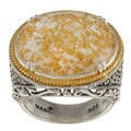 MARC 14K Yellow Gold Flashing Edge over Sterling Silver Crystal Gold Leaf Mother of Pearl Doublet an