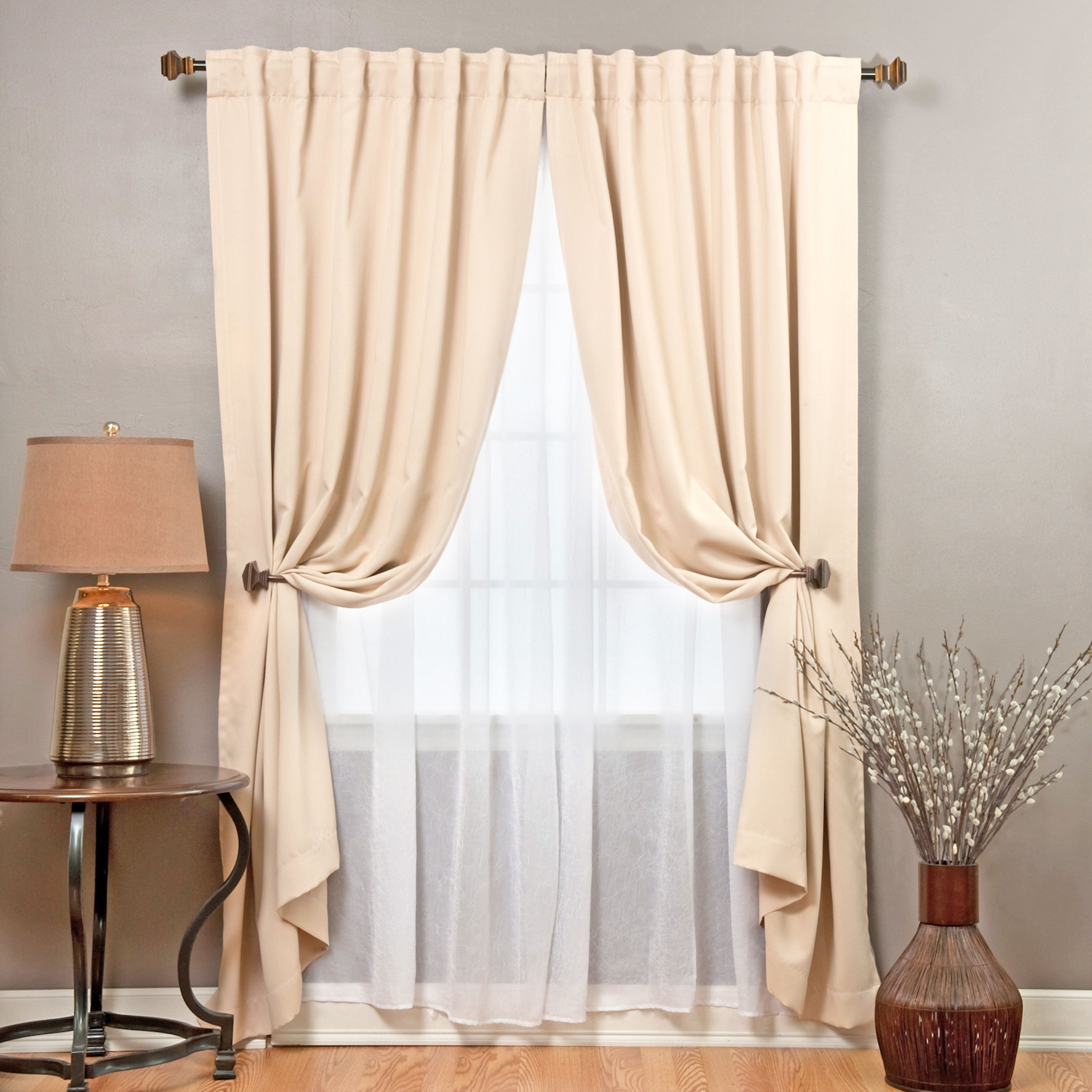 Aurora Home Mix And Match Blackout With Crushed Voile Sheer 4 Piece Panel Curtain Set 52 X 83 On Free Shipping Today