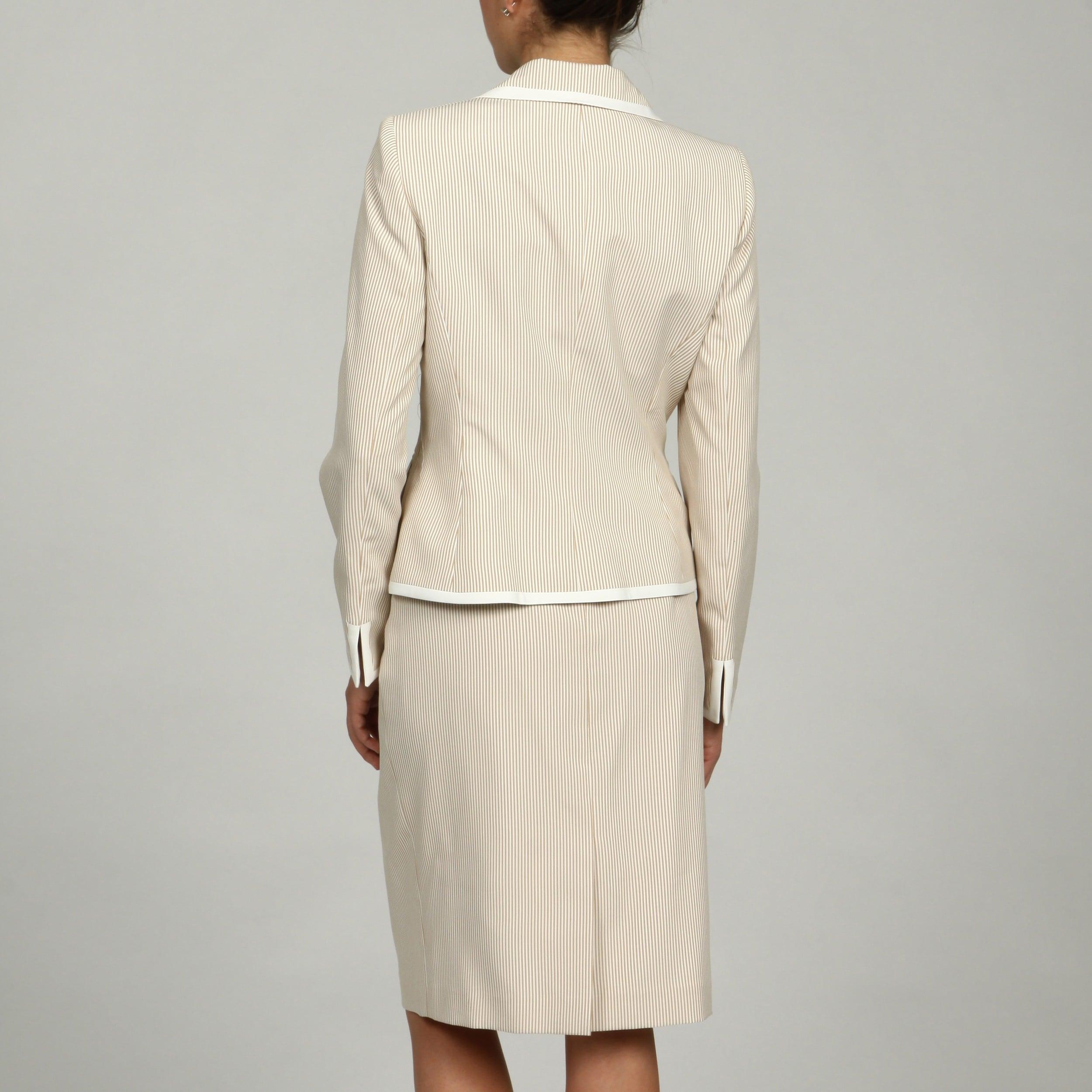 Shop Evan Picone Women S Striped Seersicker Skirt Suit Free