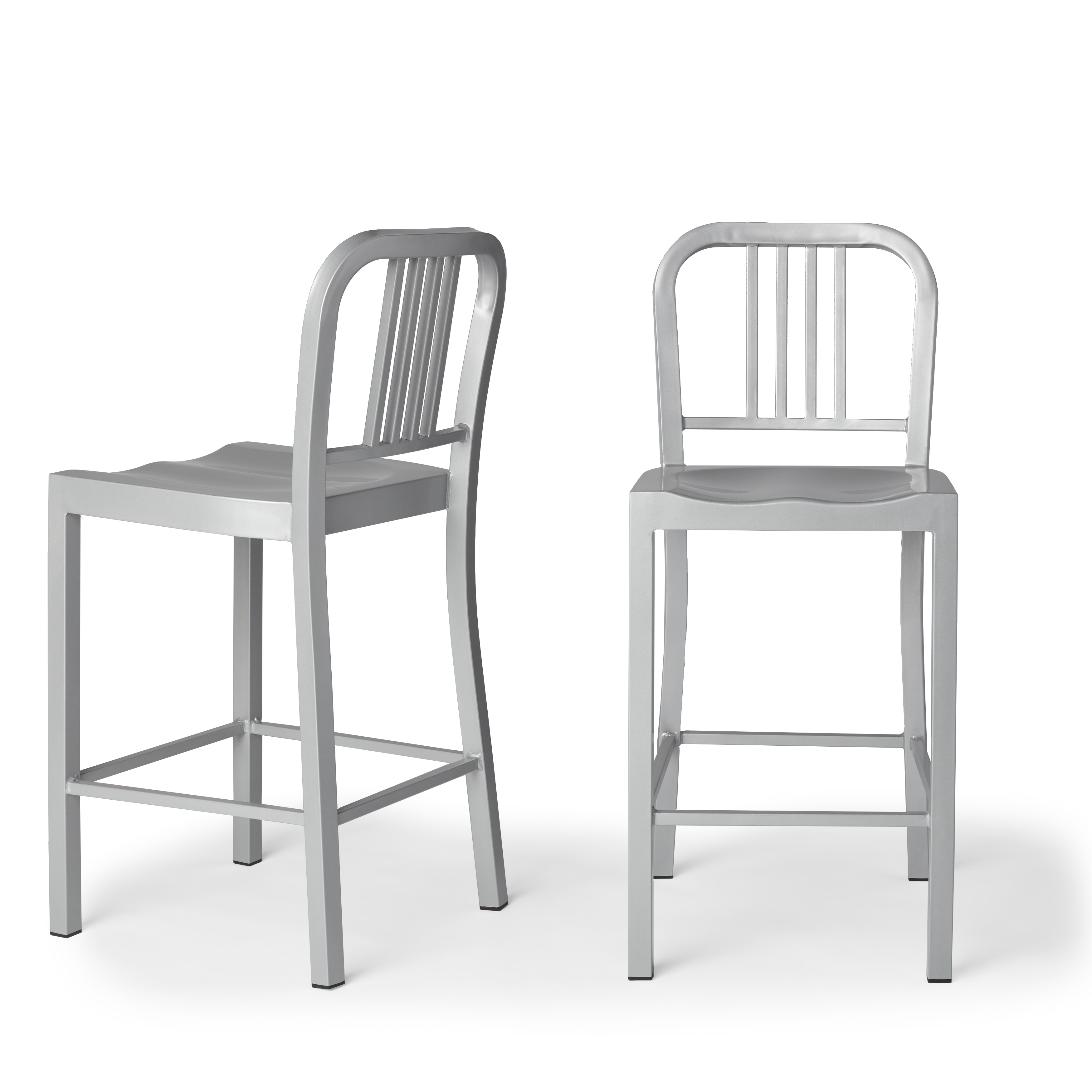 Jasper Laine Contemporary Silver Metal Counter Stools Set Of 2 Free Shipping Today 5954036
