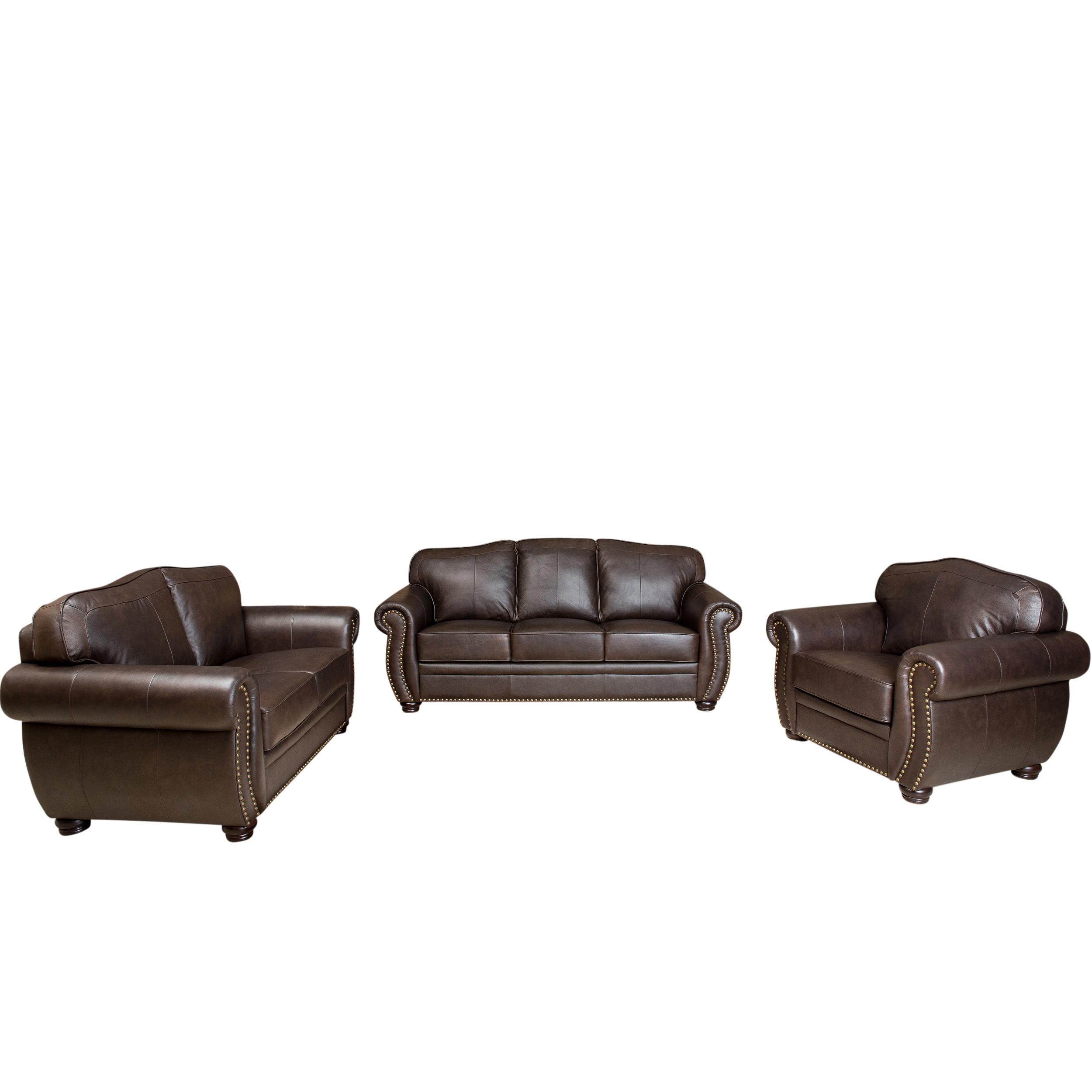 Shop Abbyson Richfield Top-grain Leather Living Room Sofa Set - On ...