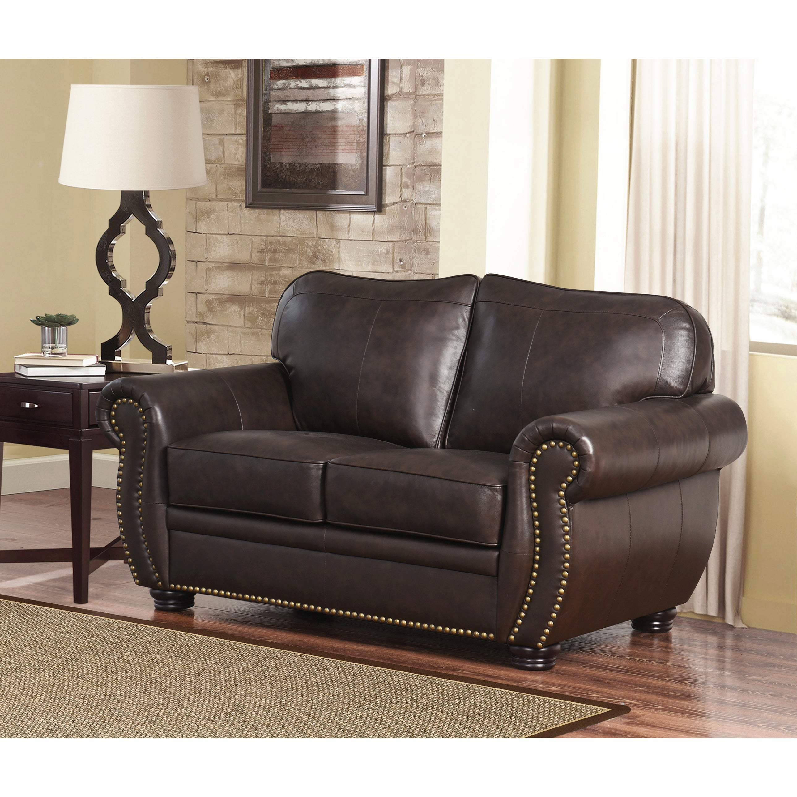 Abbyson Richfield Top Grain Leather 2 Piece Living Room Set   Free Shipping  Today   Overstock.com   13651288
