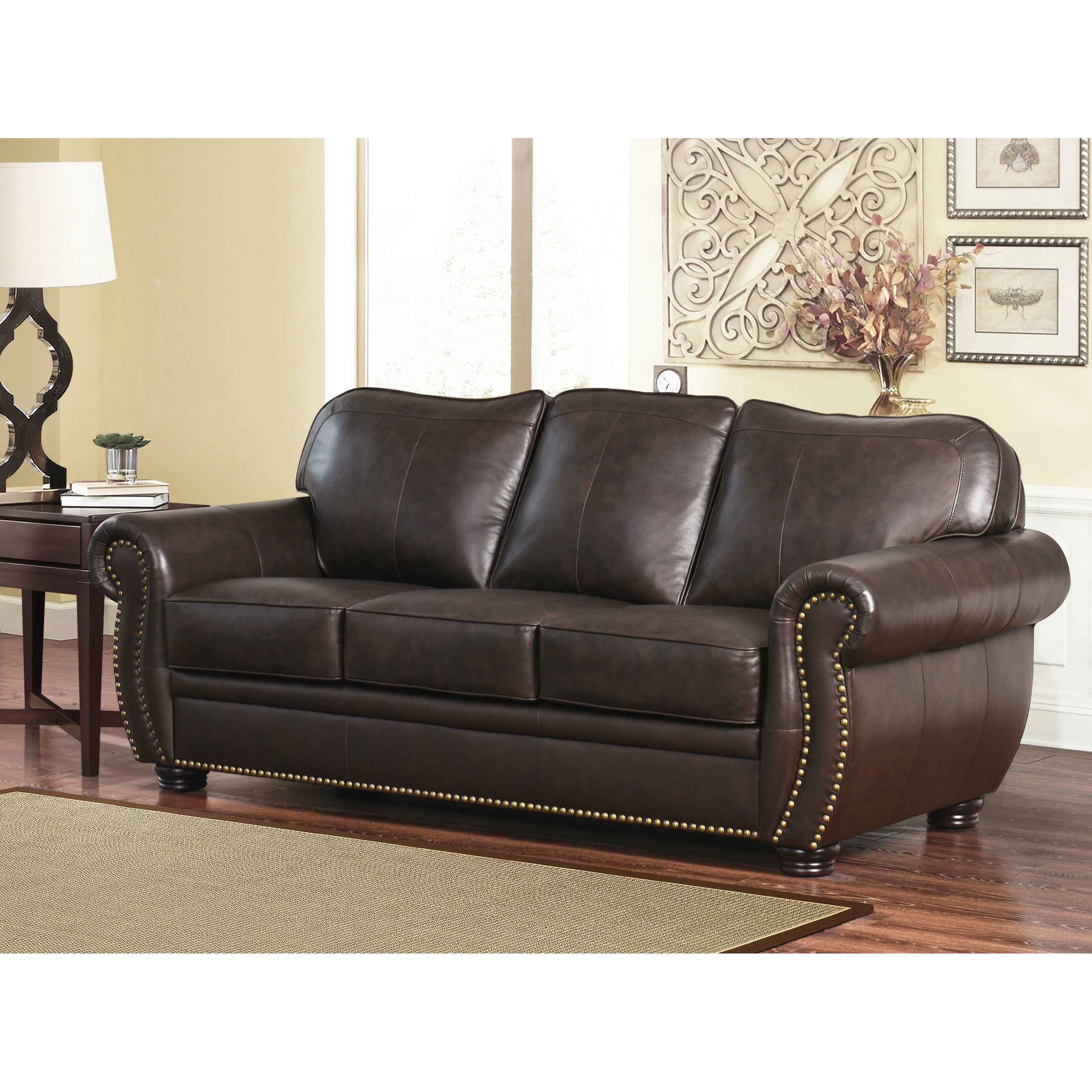 Abbyson Richfield Top Grain Leather 2 Piece Living Room Set   Free Shipping  Today   Overstock   13651288