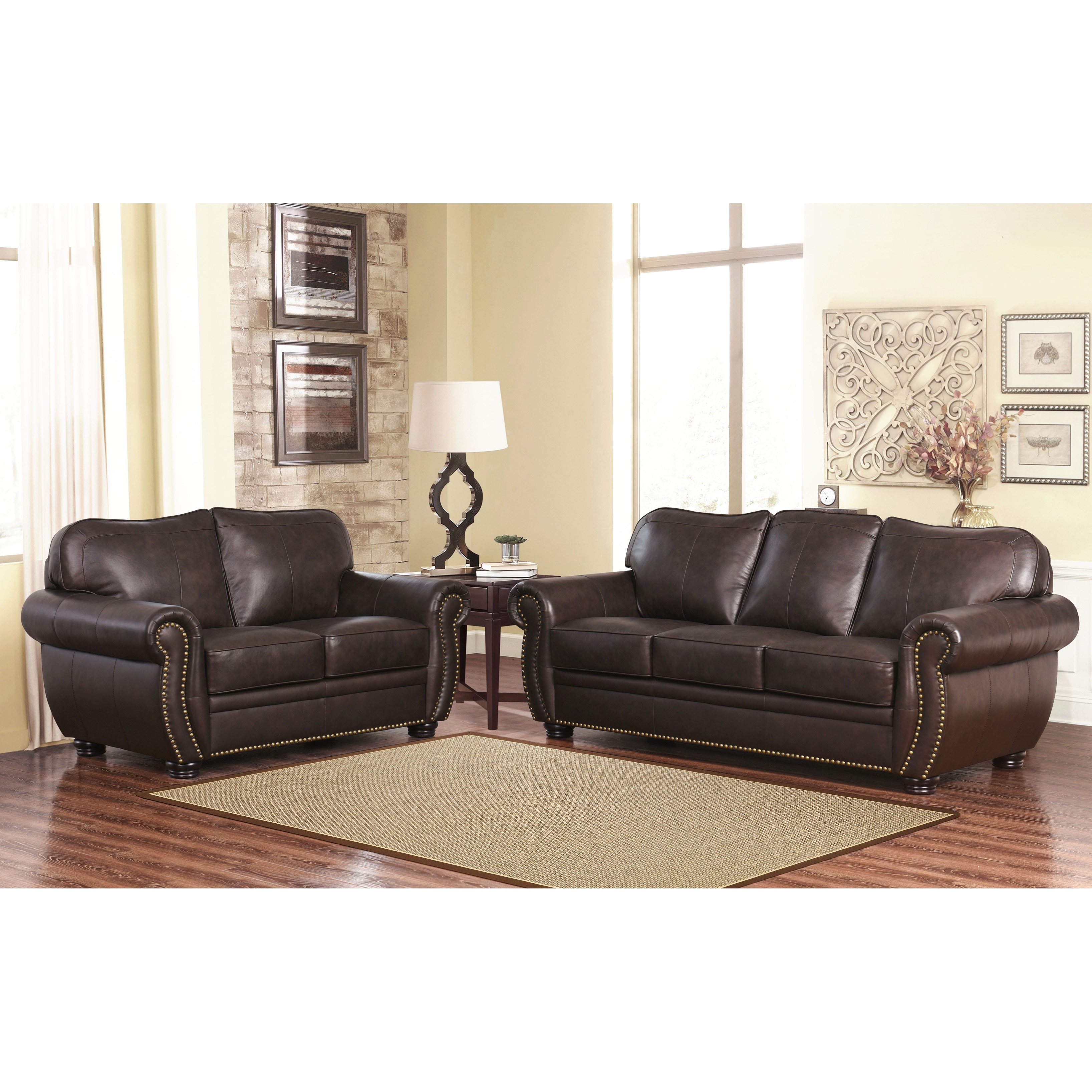 Abbyson Richfield Top Grain Leather 2 Piece Living Room Set Free  ~ Sofa And Loveseat Leather