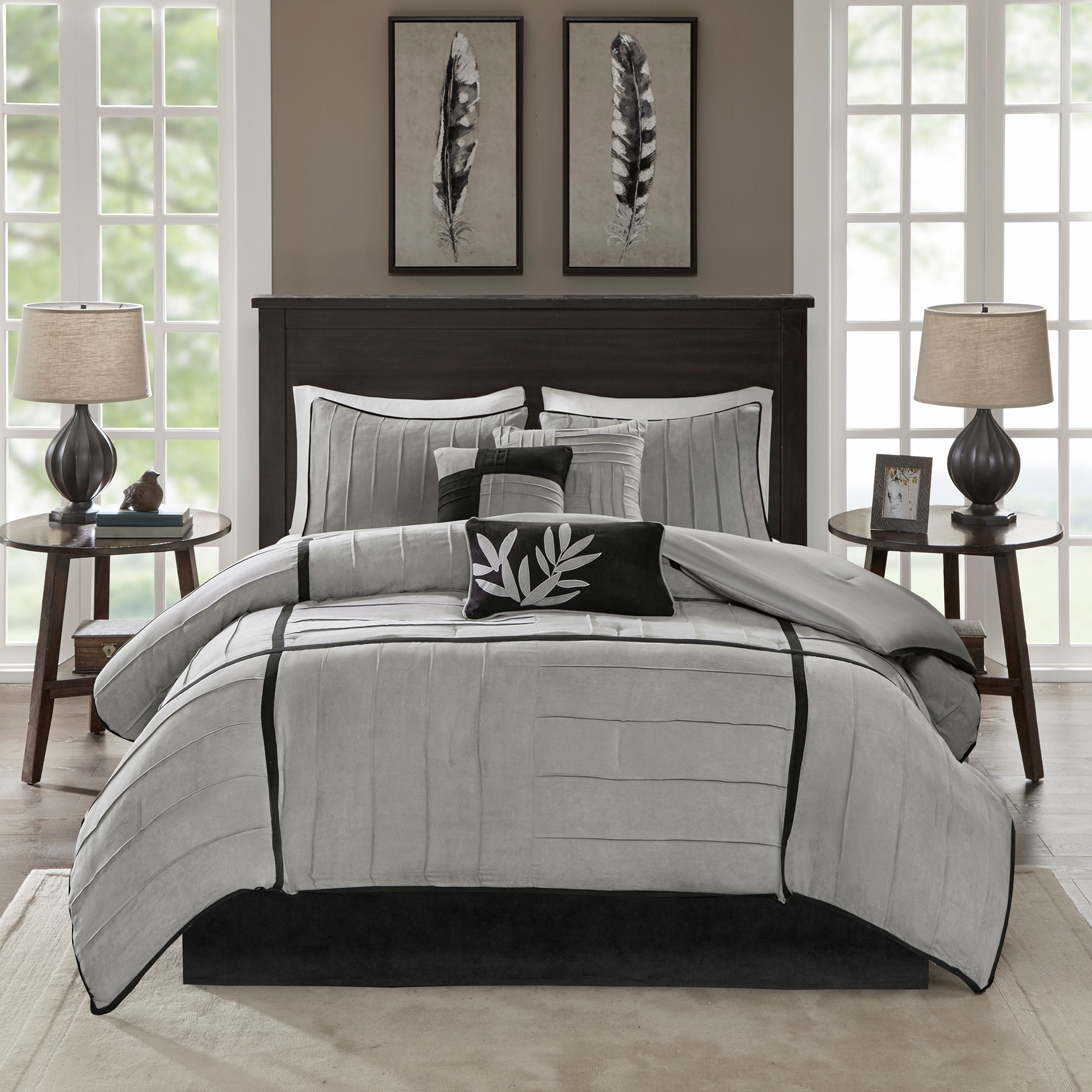 ruffle cynthia king gray rowley comforter bedding ruched twin dark grey
