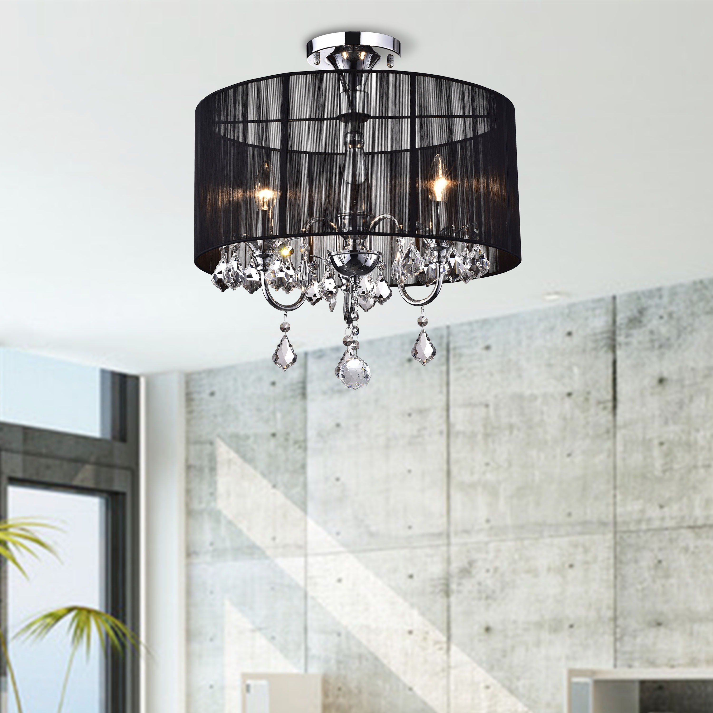 Black and Chrome Semi Flush Mount Crystal Chandelier Free