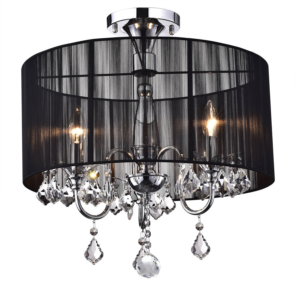 Black And Chrome Semi Flush Mount Crystal Chandelier Free Today Com 5958830