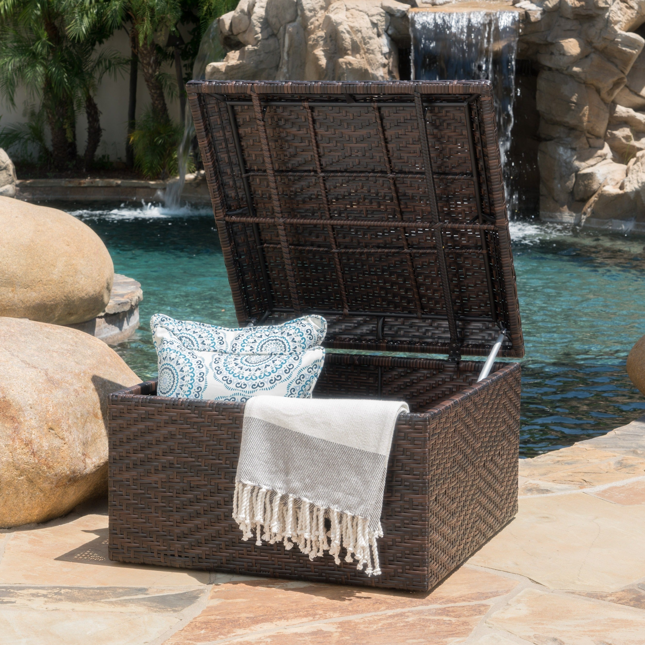 Shop Richmond Wicker Storage Ottoman by Christopher Knight Home - Free Shipping Today - Overstock.com - 5961205 & Shop Richmond Wicker Storage Ottoman by Christopher Knight Home ...
