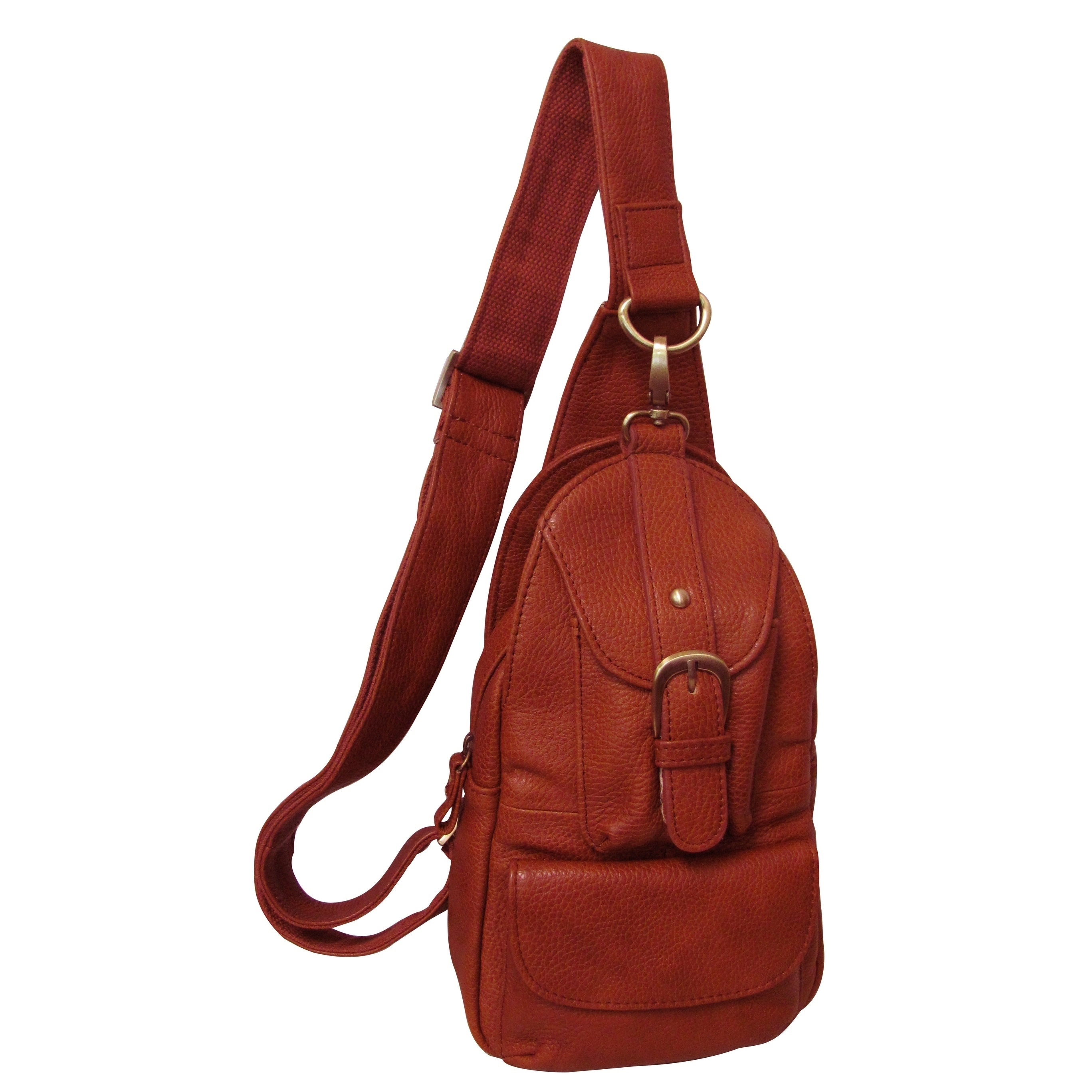 c24a9296b5d9 Shop Amerileather Grylls Petite Cowhide Leather Multi-pocket Sling Backpack  - On Sale - Free Shipping Today - Overstock - 5967446