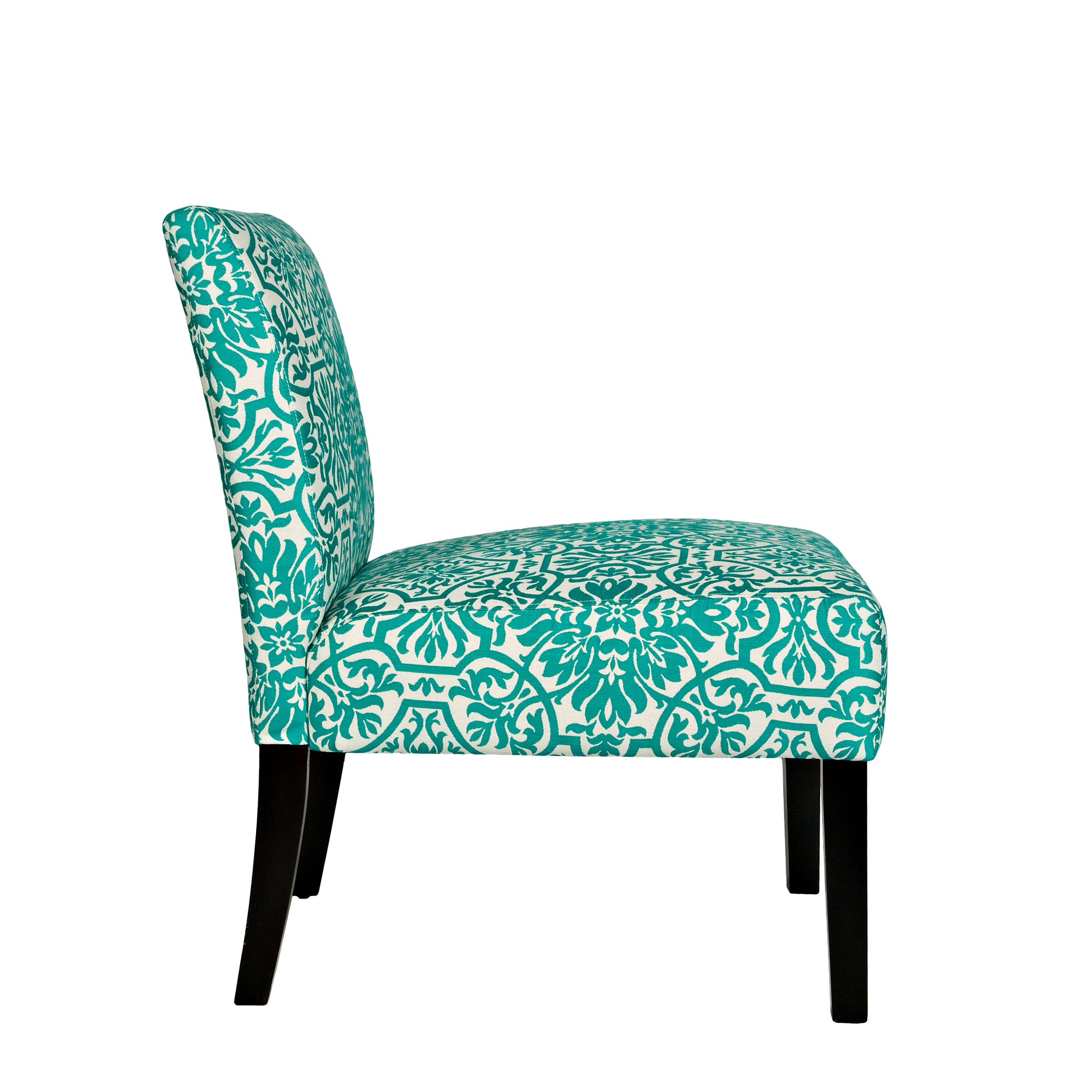 Shop Handy Living Bradstreet Damask Turquoise Blue Upholstered Armless Chair    Free Shipping Today   Overstock.com   5980621