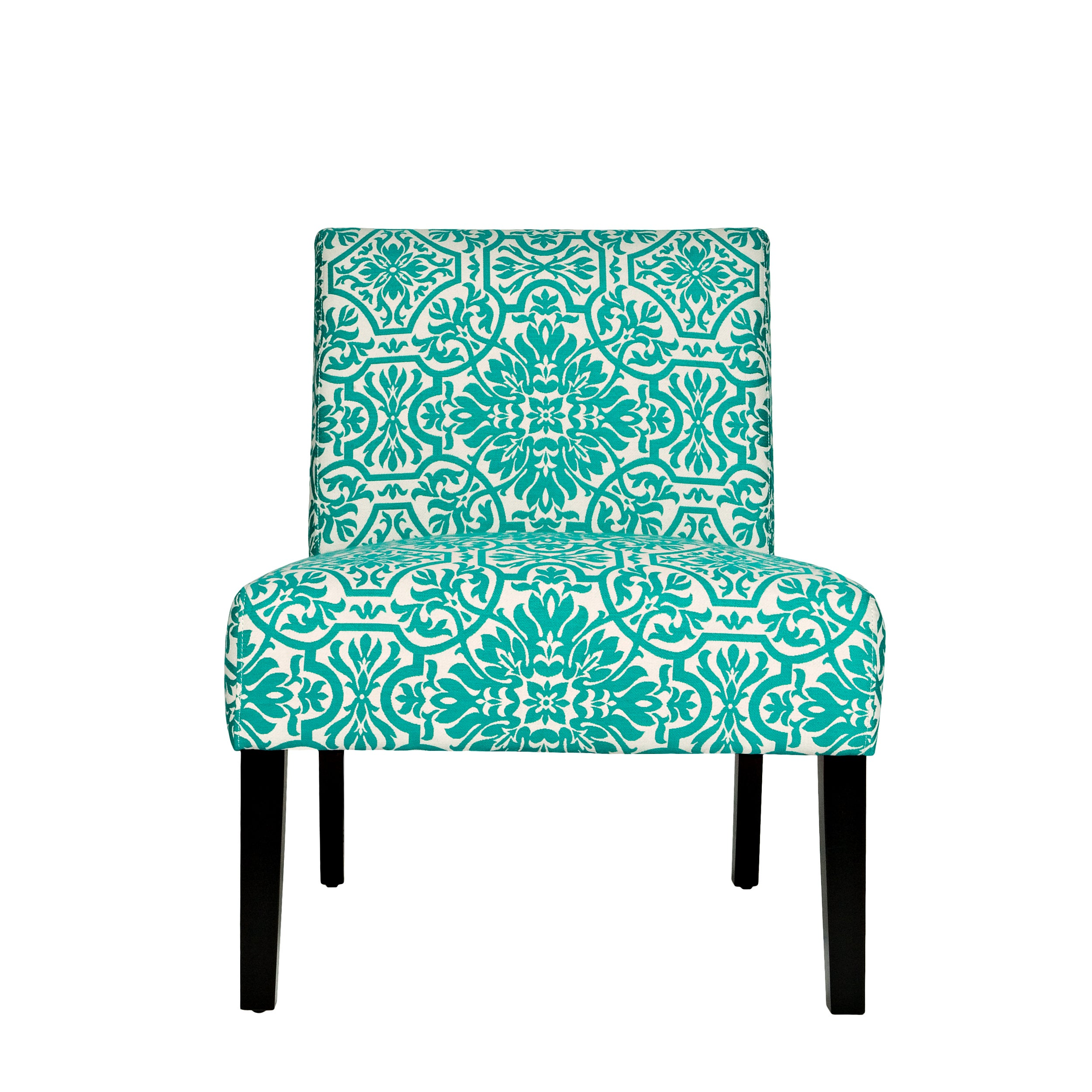 Beau Shop Handy Living Bradstreet Damask Turquoise Blue Upholstered Armless Chair    Free Shipping Today   Overstock.com   5980621