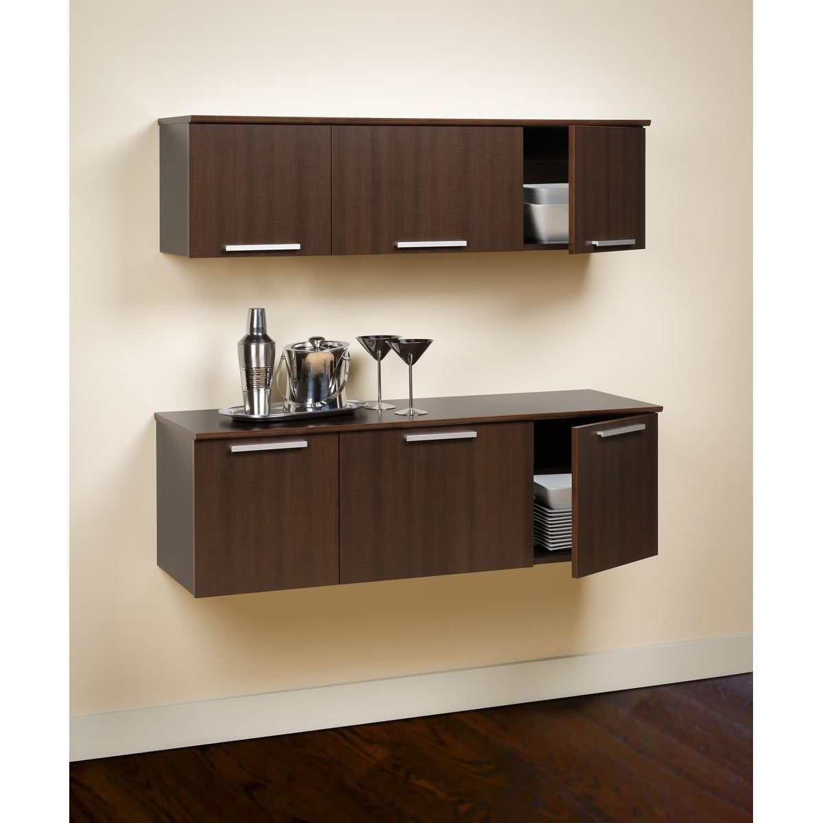 Yaletown Espresso Wall Mounted Hutch Free Shipping Today 5983096