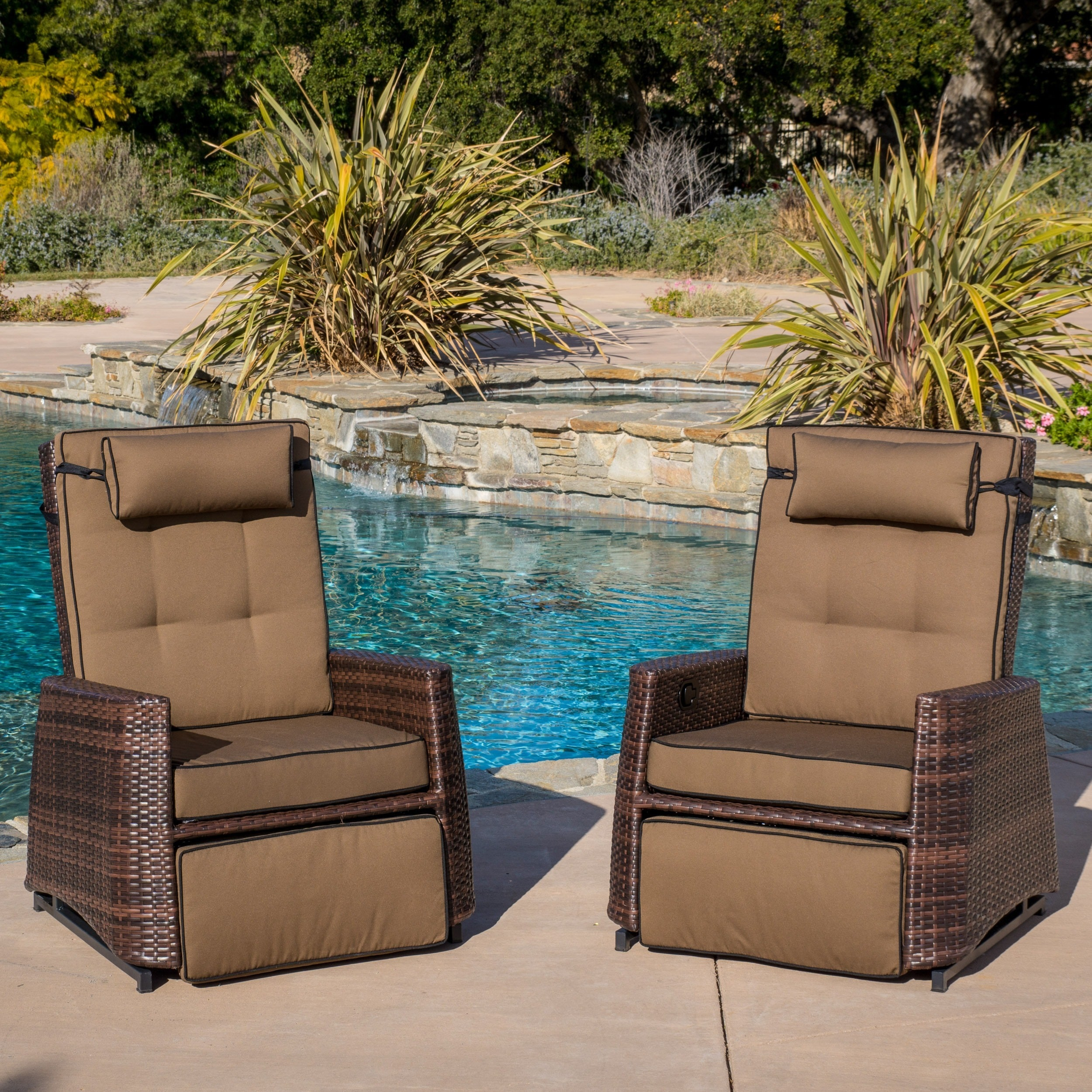 outdoor brown wicker recliners set of 2 by christopher knight