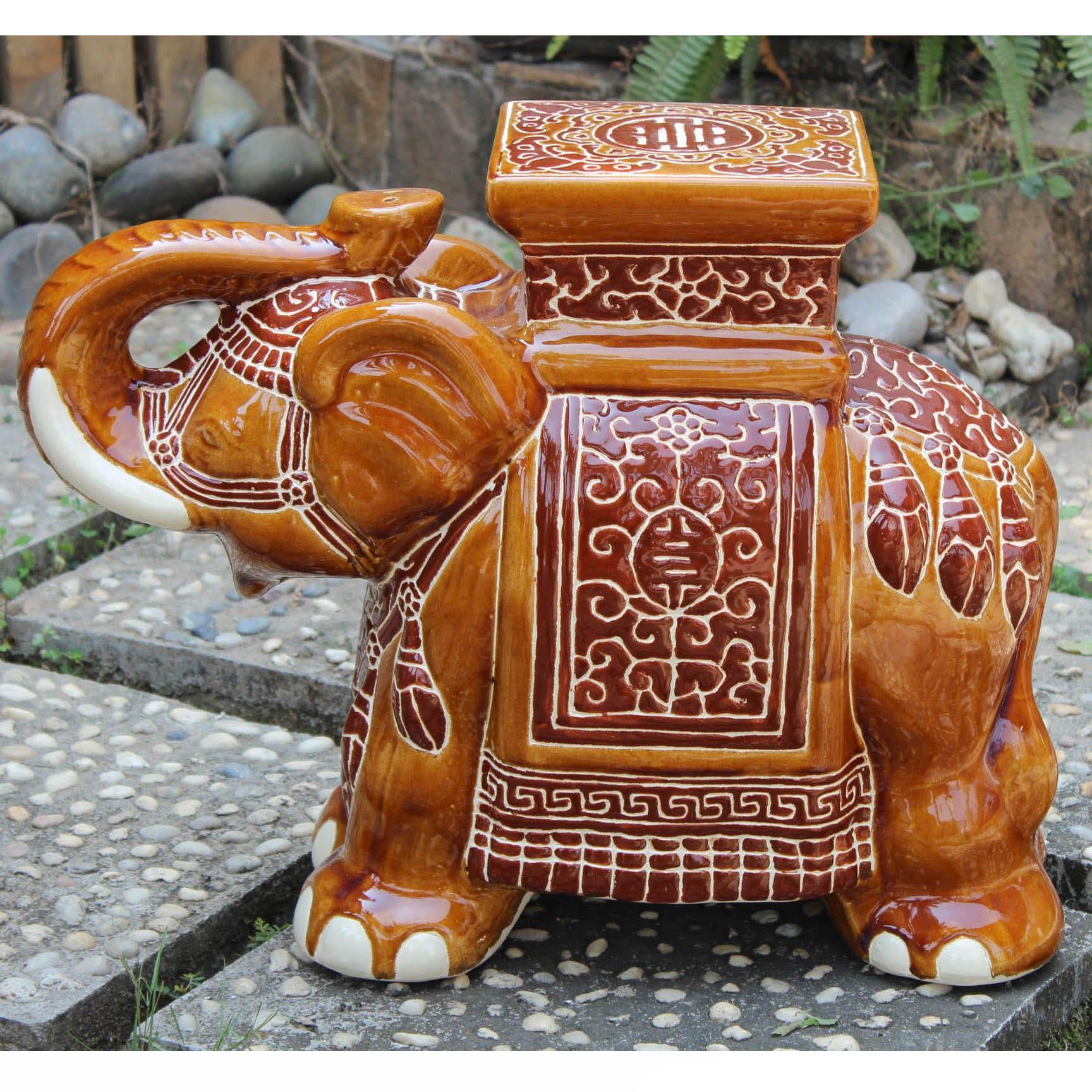Shop International Caravan Large Porcelain Elephant Stool - Free ...